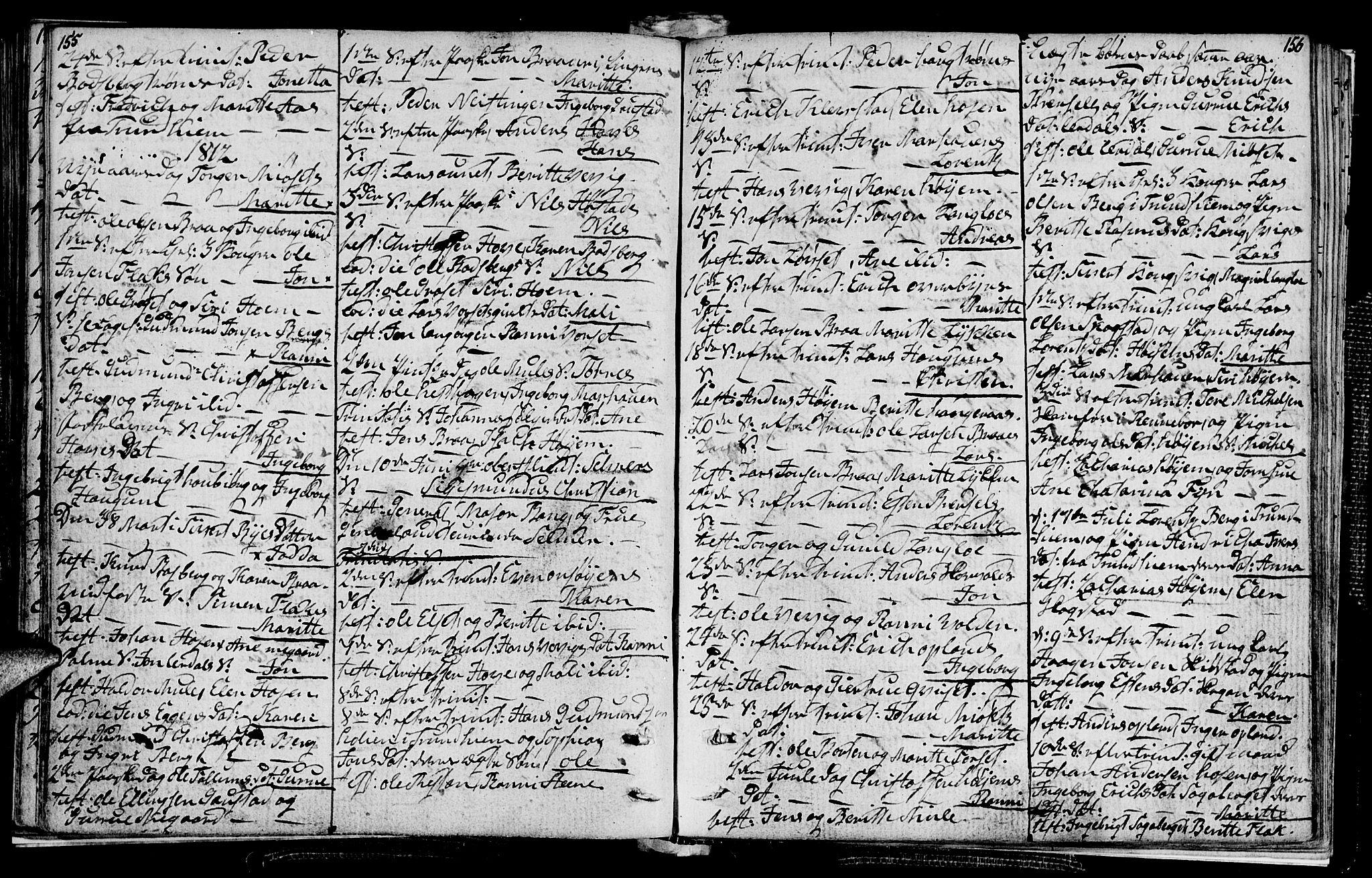 SAT, Ministerialprotokoller, klokkerbøker og fødselsregistre - Sør-Trøndelag, 612/L0371: Ministerialbok nr. 612A05, 1803-1816, s. 155-156