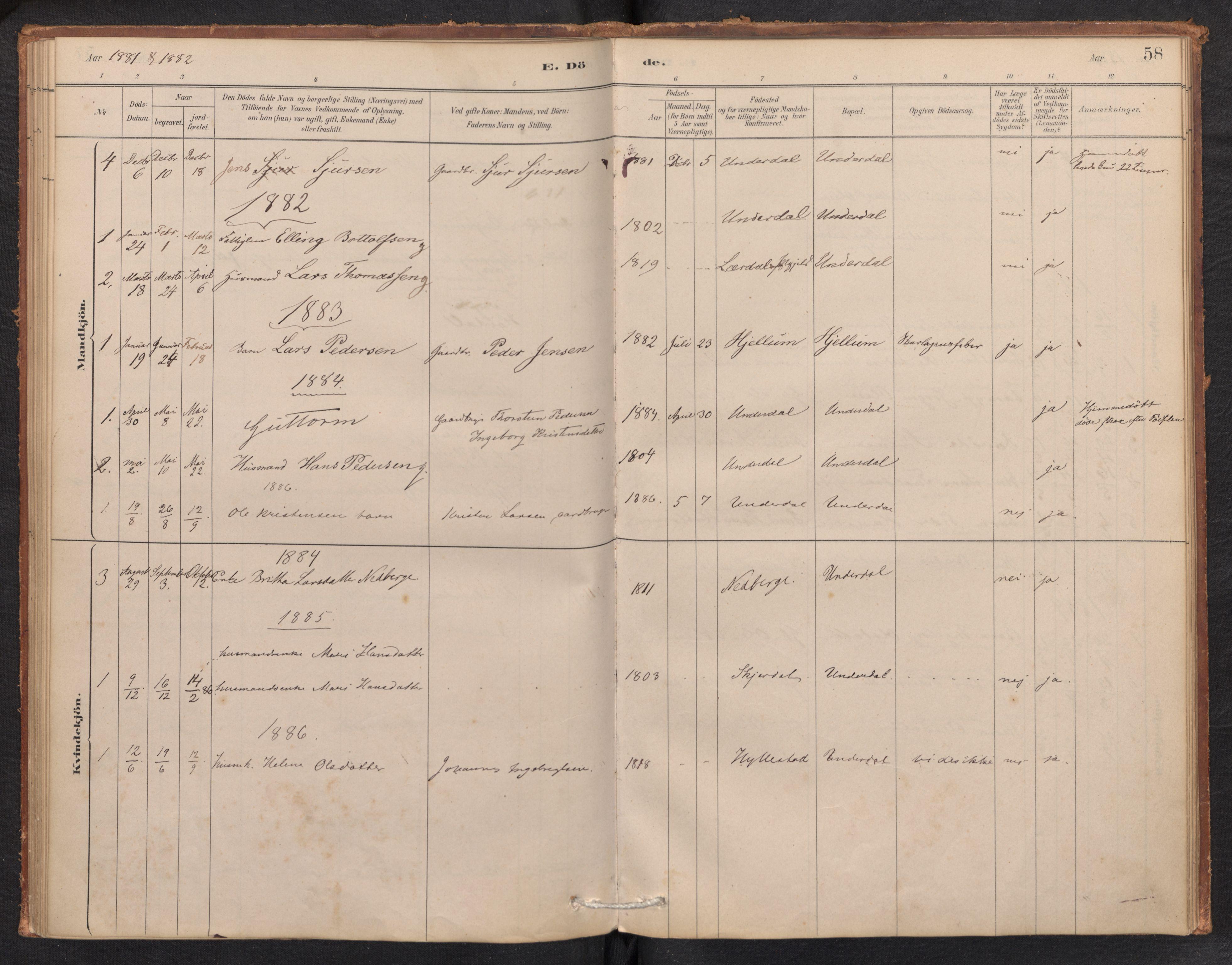 SAB, Aurland Sokneprestembete*, Ministerialbok nr. E 1, 1880-1907, s. 57b-58a
