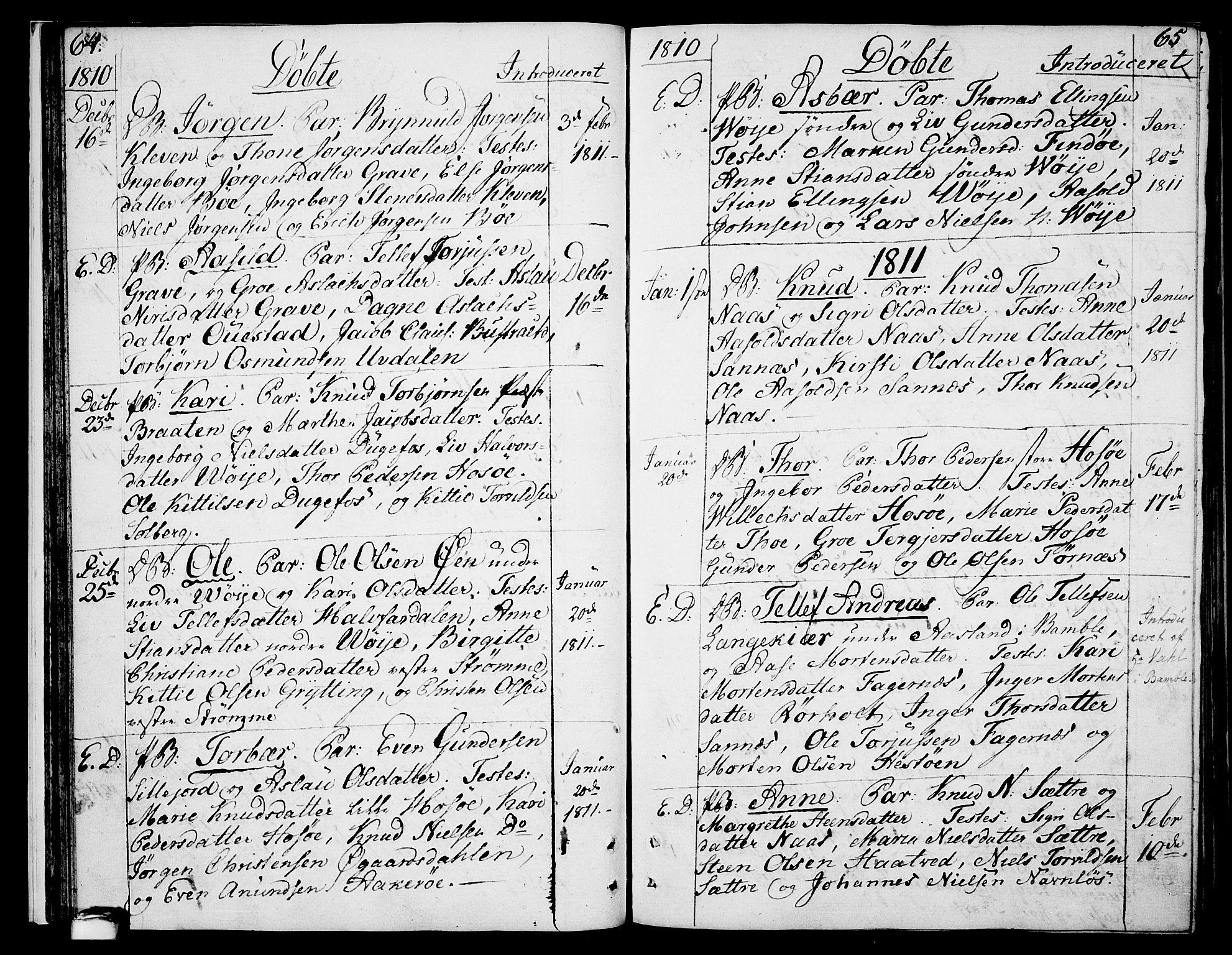 SAKO, Drangedal kirkebøker, F/Fa/L0004: Ministerialbok nr. 4, 1802-1814, s. 64-65