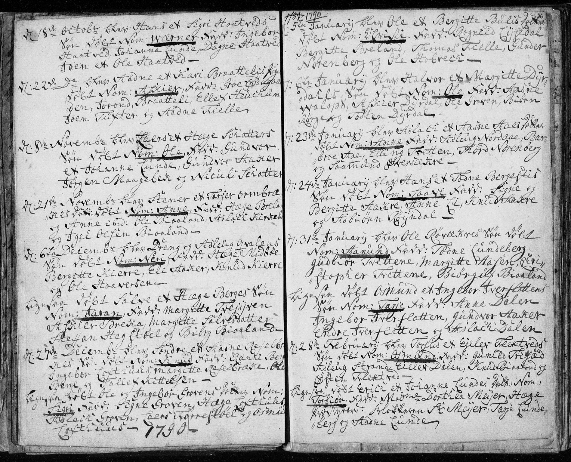 SAKO, Lårdal kirkebøker, F/Fa/L0003: Ministerialbok nr. I 3, 1754-1790, s. 36