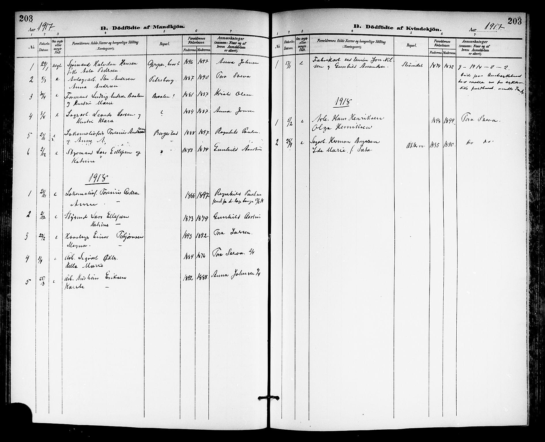 SAKO, Gjerpen kirkebøker, G/Ga/L0003: Klokkerbok nr. I 3, 1901-1919, s. 203