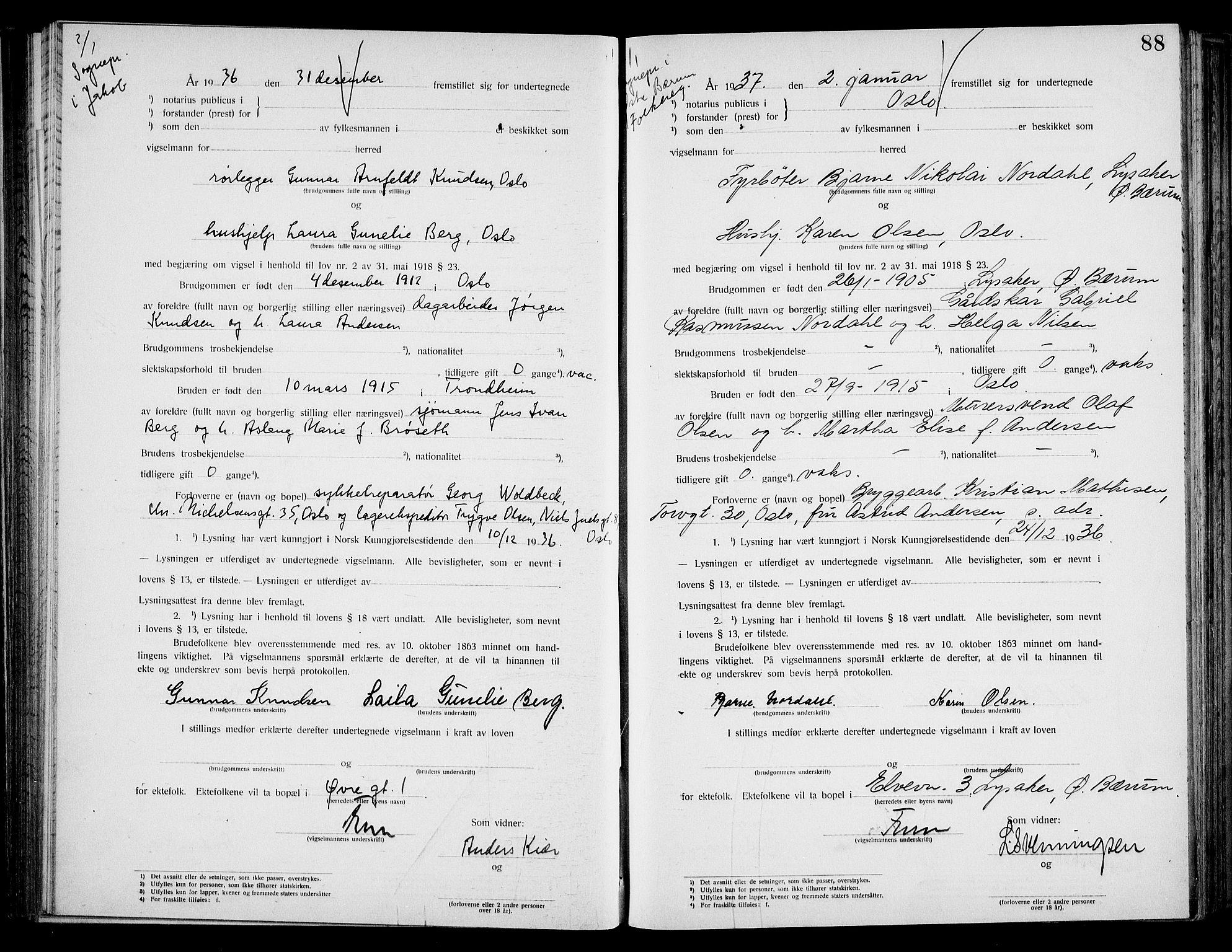 SAO, Oslo byfogd avd. I, L/Lb/Lbb/L0027: Notarialprotokoll, rekke II: Vigsler, 1936-1937, s. 87b-88a