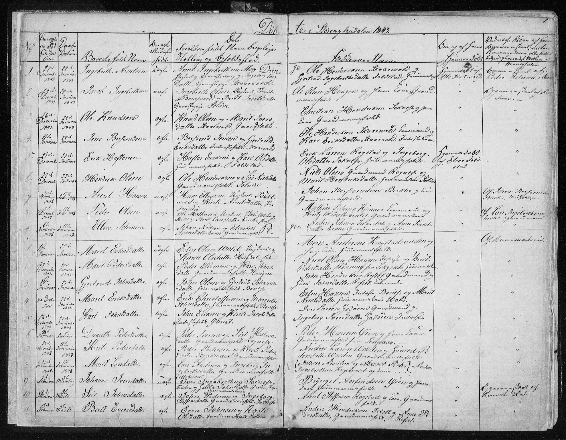 SAT, Ministerialprotokoller, klokkerbøker og fødselsregistre - Sør-Trøndelag, 687/L0997: Ministerialbok nr. 687A05 /1, 1843-1848, s. 1