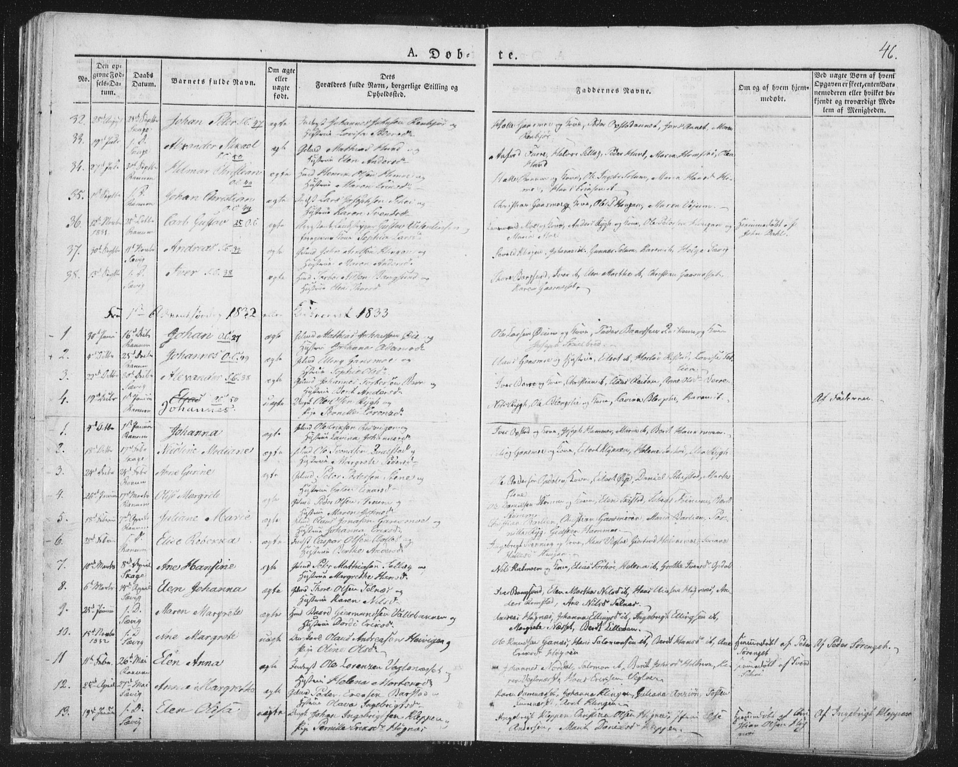 SAT, Ministerialprotokoller, klokkerbøker og fødselsregistre - Nord-Trøndelag, 764/L0551: Ministerialbok nr. 764A07a, 1824-1864, s. 46
