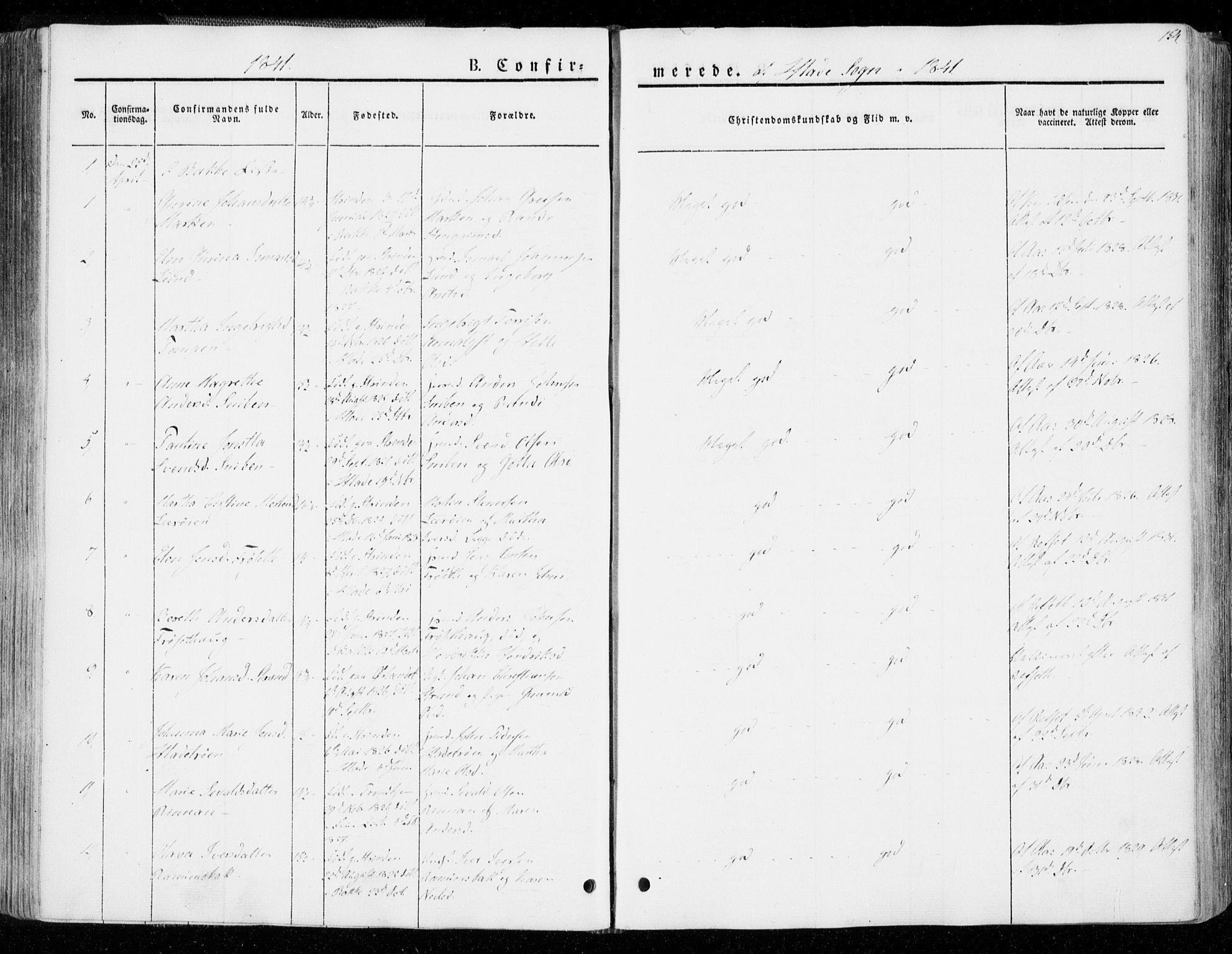 SAT, Ministerialprotokoller, klokkerbøker og fødselsregistre - Sør-Trøndelag, 606/L0290: Ministerialbok nr. 606A05, 1841-1847, s. 154