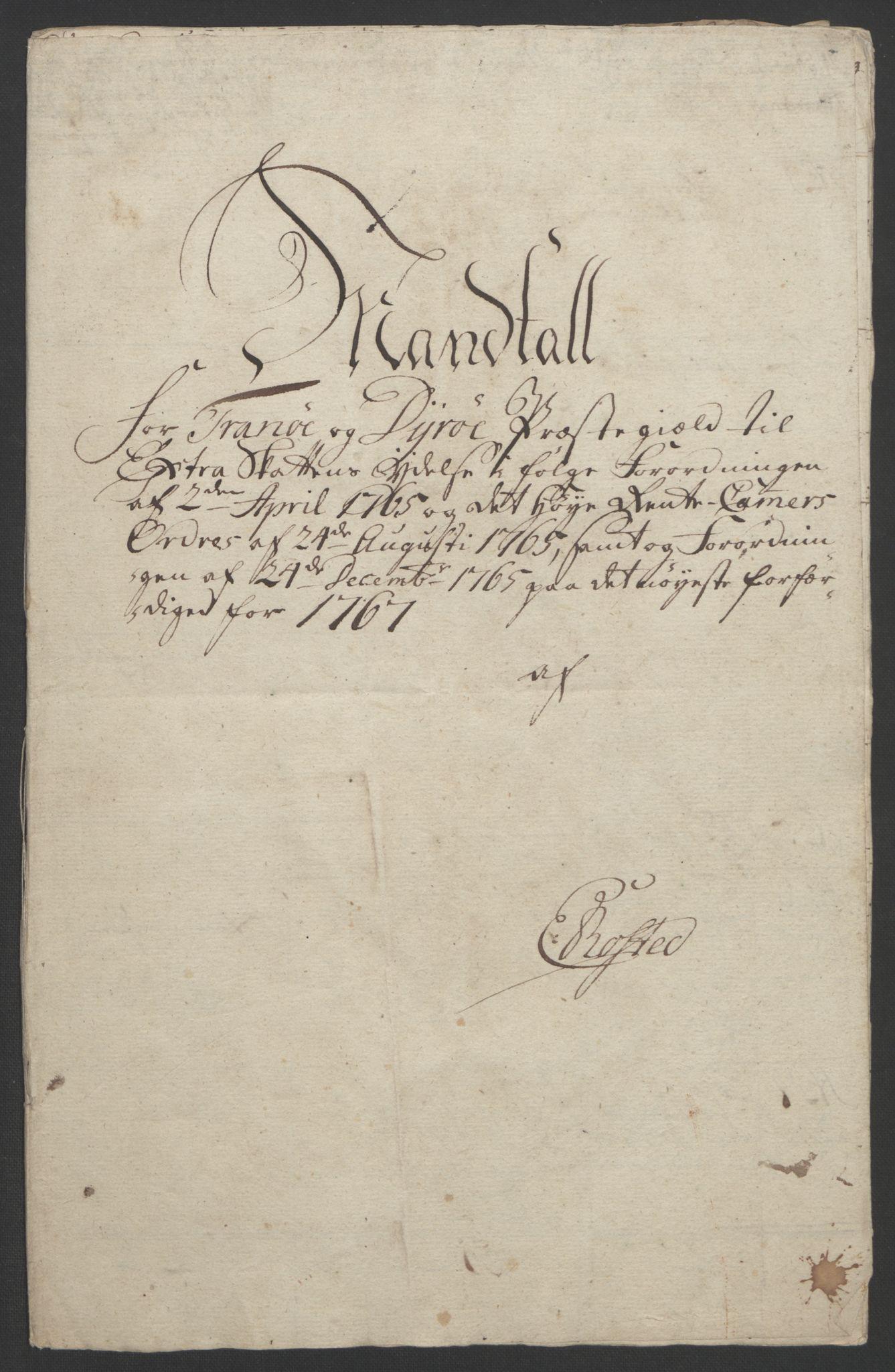 RA, Rentekammeret inntil 1814, Realistisk ordnet avdeling, Ol/L0022b: [Gg 10]: Ekstraskatten, 23.09.1762. Senja og Troms, 1765-1768, s. 159