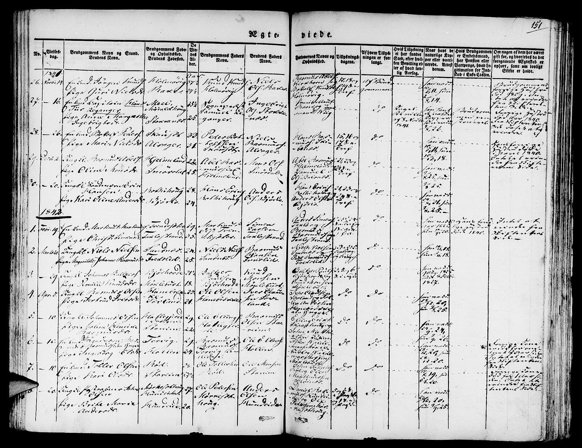 SAB, Eid Sokneprestembete, H/Haa: Ministerialbok nr. A 6, 1831-1843, s. 151