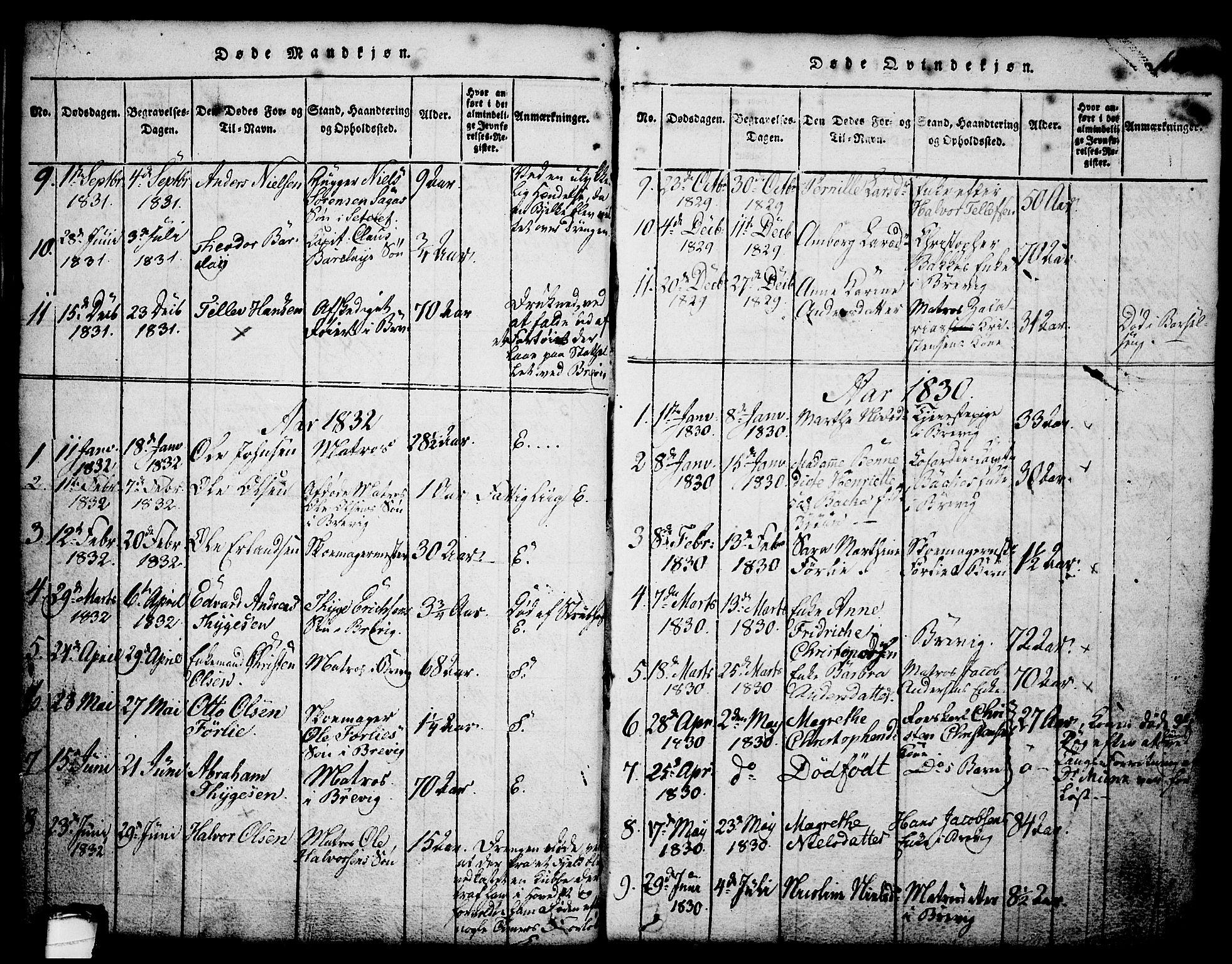 SAKO, Brevik kirkebøker, G/Ga/L0001: Klokkerbok nr. 1, 1814-1845, s. 112