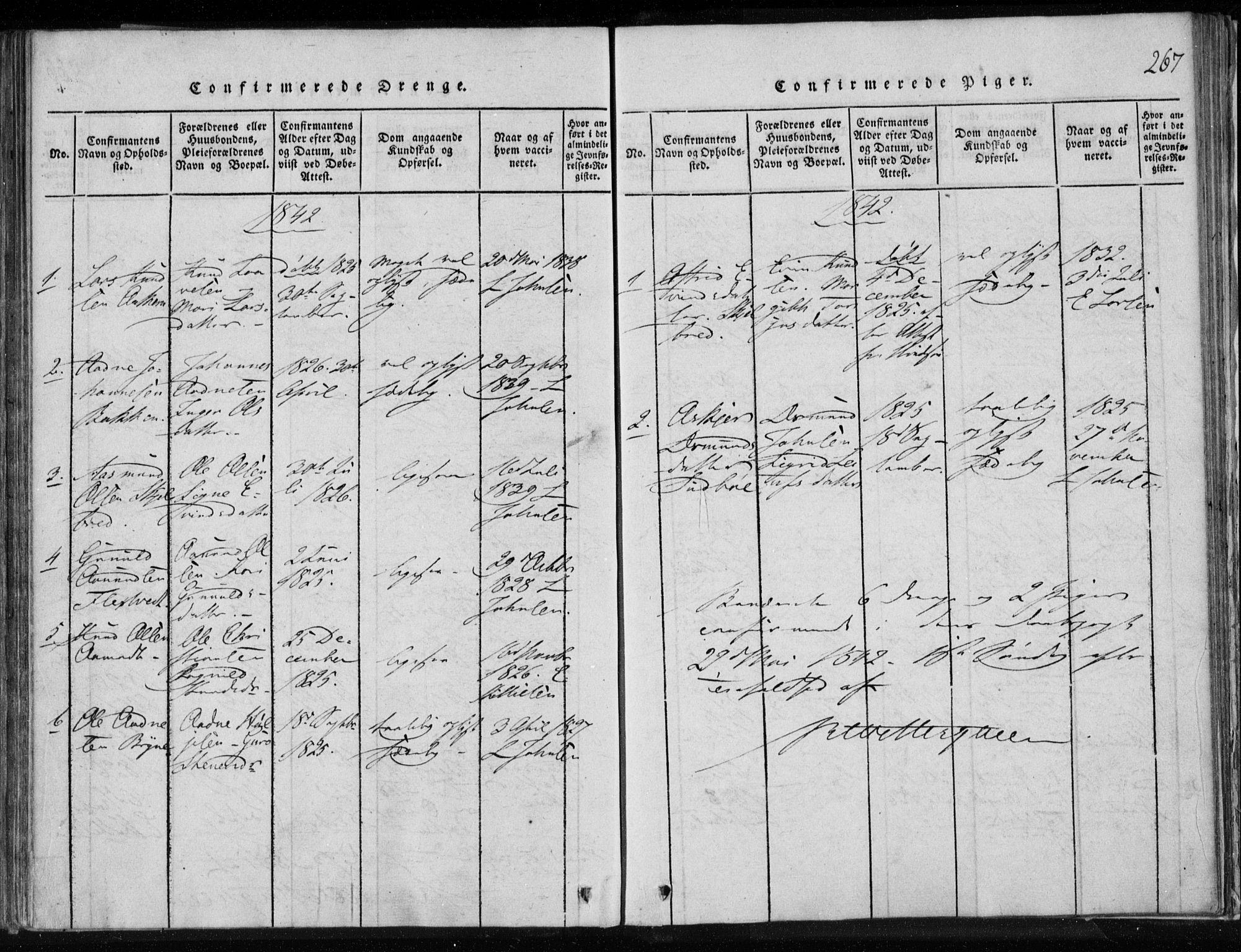 SAKO, Lårdal kirkebøker, F/Fa/L0005: Ministerialbok nr. I 5, 1815-1860, s. 267