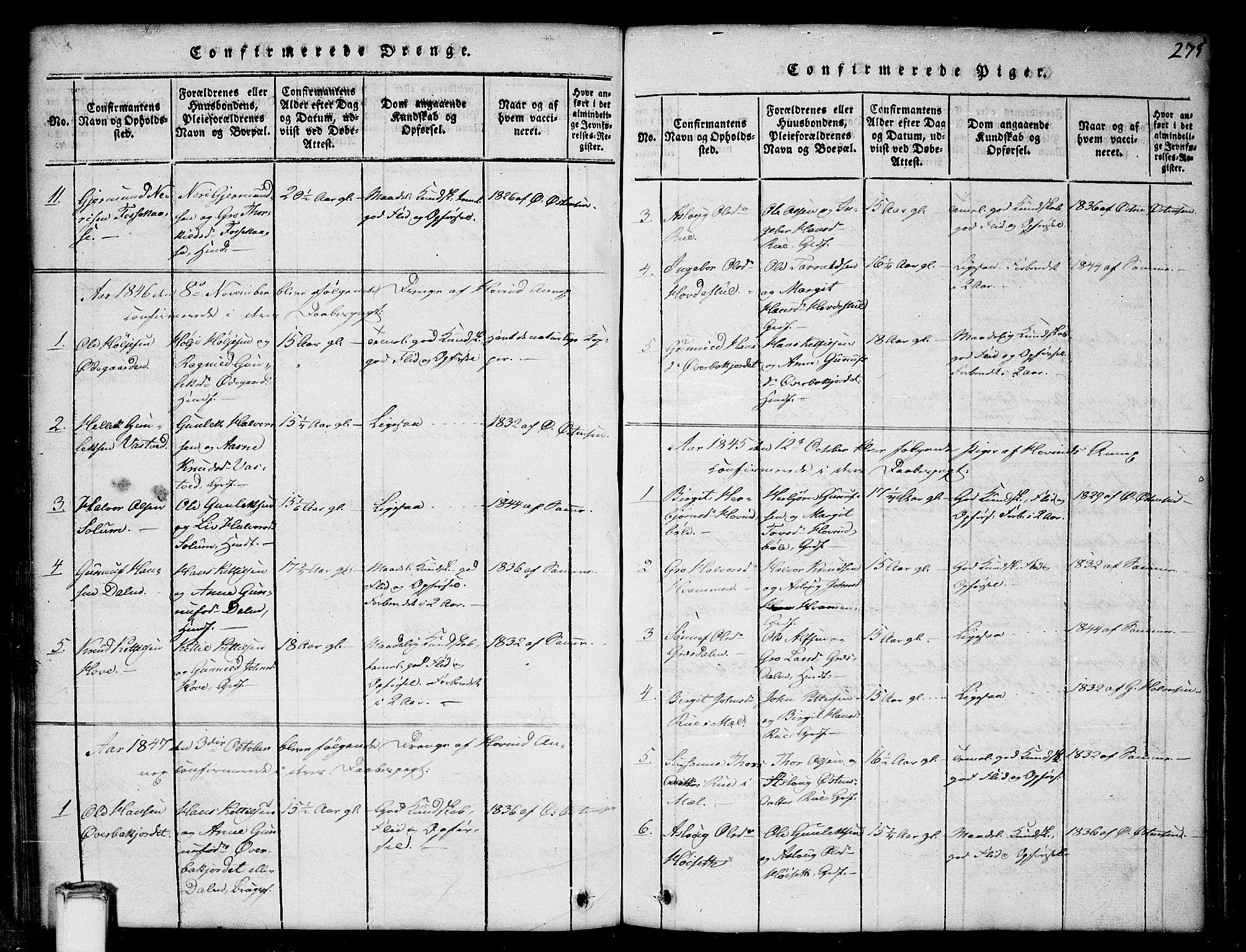 SAKO, Gransherad kirkebøker, G/Gb/L0001: Klokkerbok nr. II 1, 1815-1860, s. 275