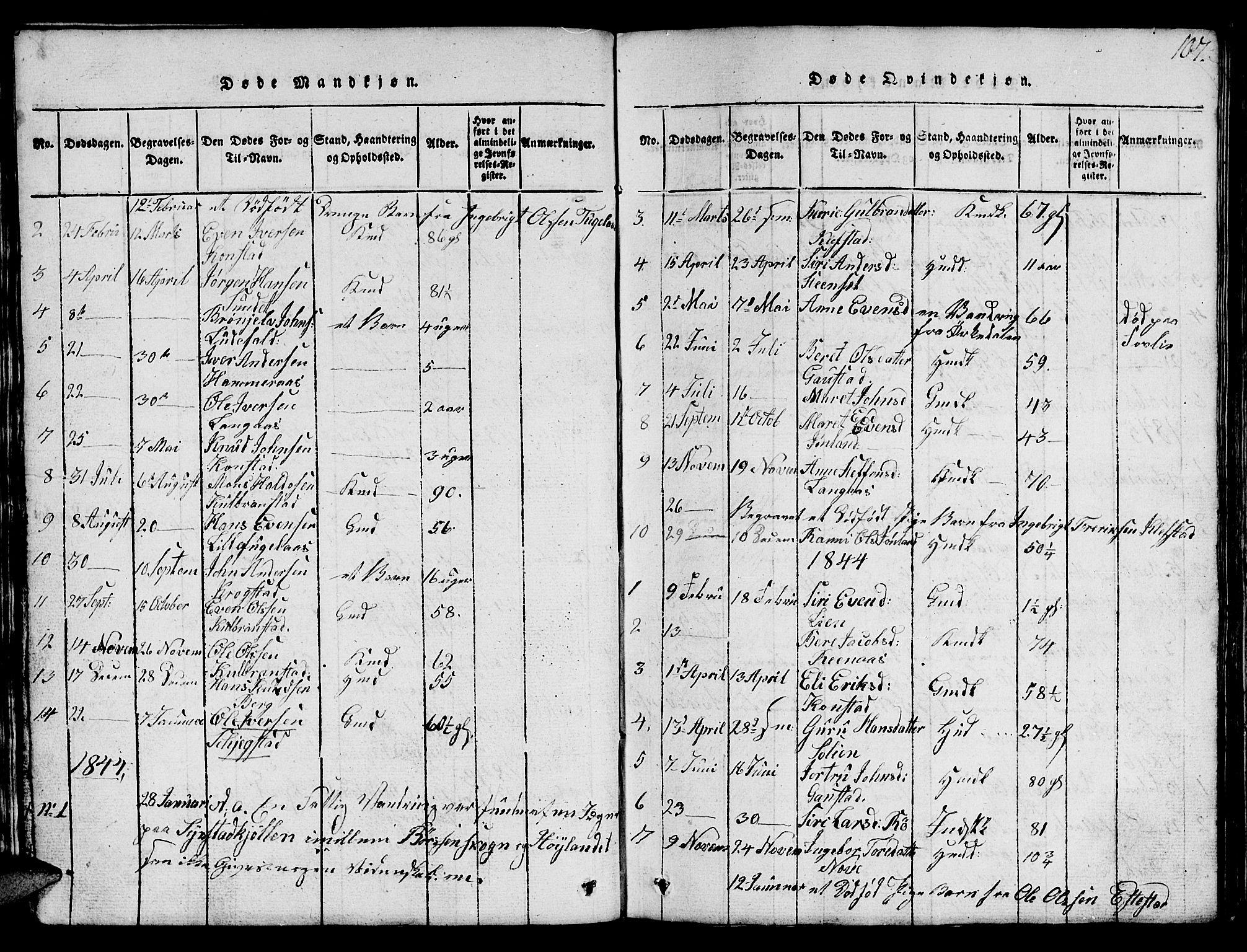 SAT, Ministerialprotokoller, klokkerbøker og fødselsregistre - Sør-Trøndelag, 694/L1130: Klokkerbok nr. 694C02, 1816-1857, s. 107