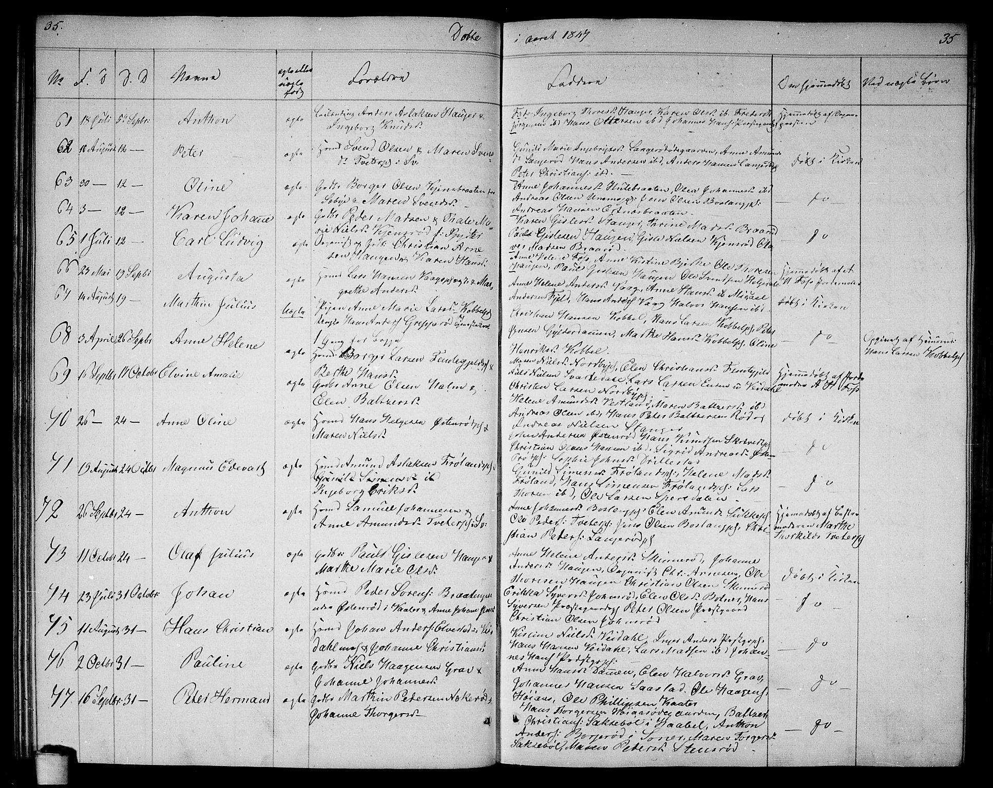 SAO, Våler prestekontor Kirkebøker, G/Ga/L0002: Klokkerbok nr. I 2, 1839-1860, s. 35