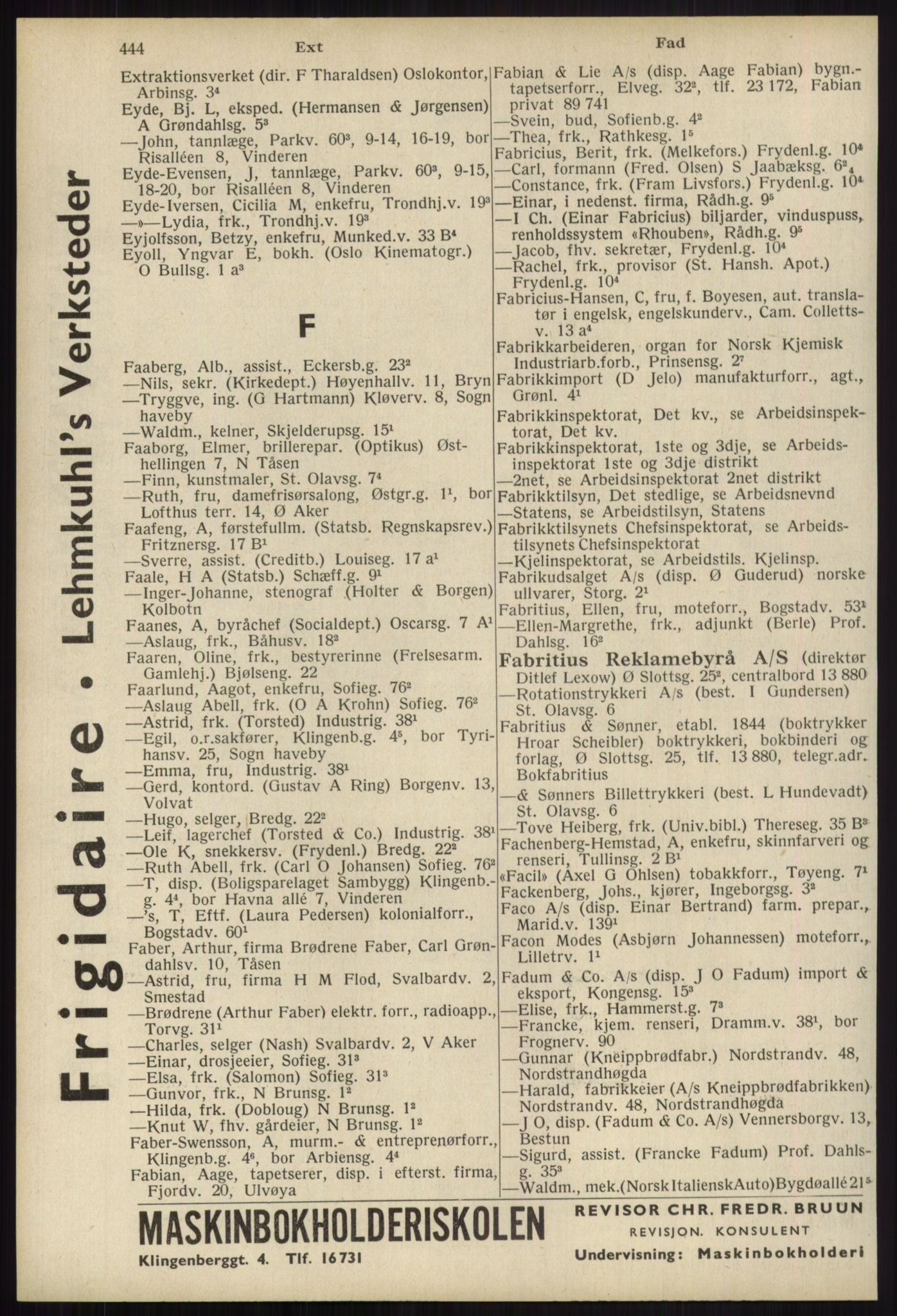 RA, Oslo adressebok (publikasjon)*, 1939, s. 444