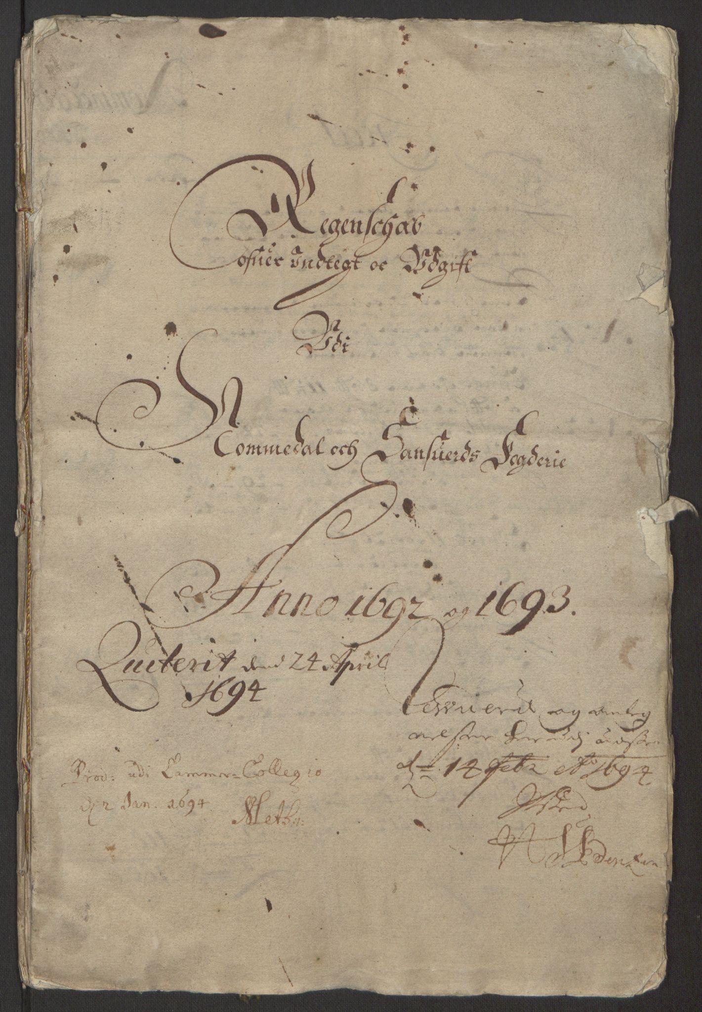 RA, Rentekammeret inntil 1814, Reviderte regnskaper, Fogderegnskap, R24/L1575: Fogderegnskap Numedal og Sandsvær, 1692-1695, s. 7