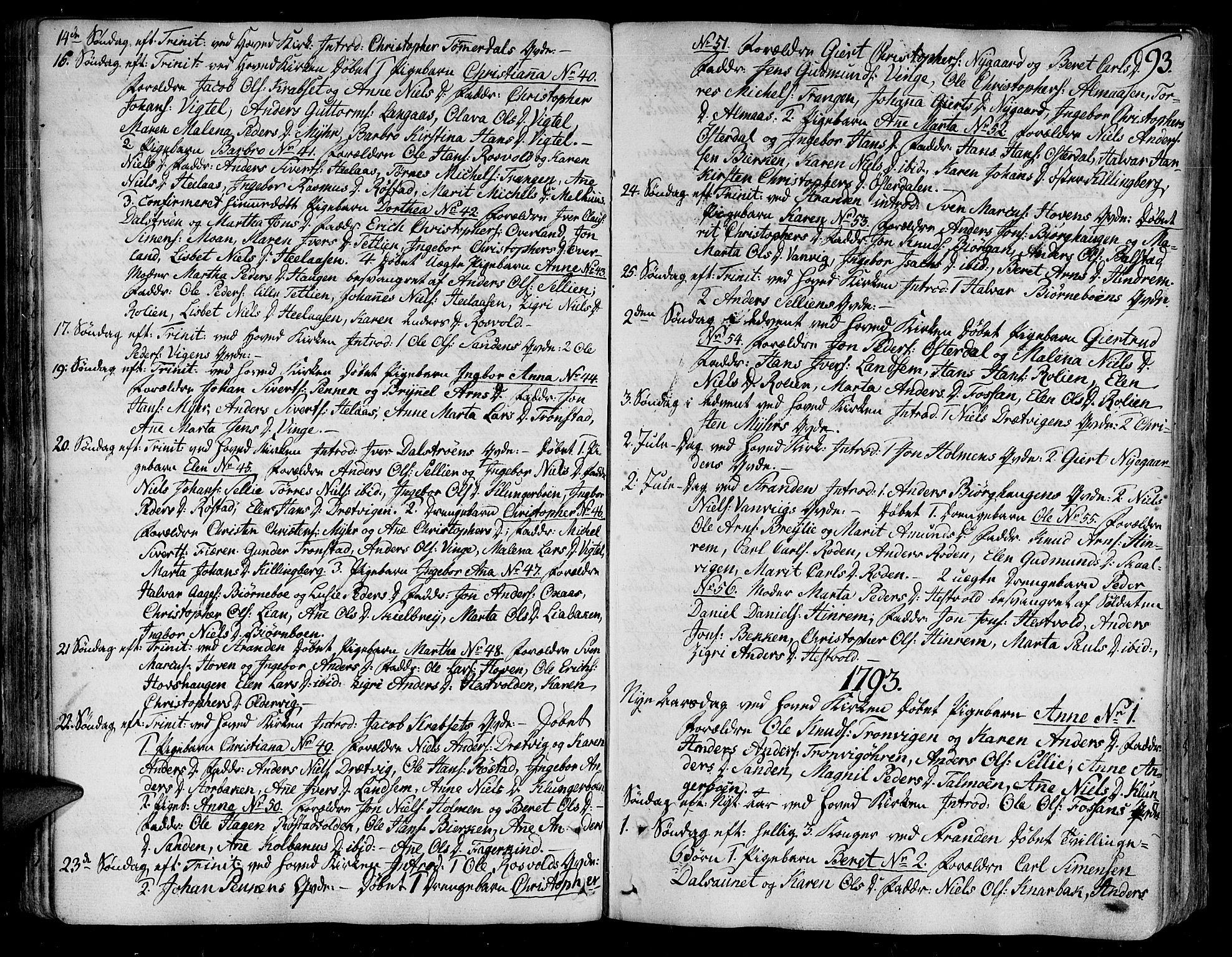 SAT, Ministerialprotokoller, klokkerbøker og fødselsregistre - Nord-Trøndelag, 701/L0004: Ministerialbok nr. 701A04, 1783-1816, s. 93