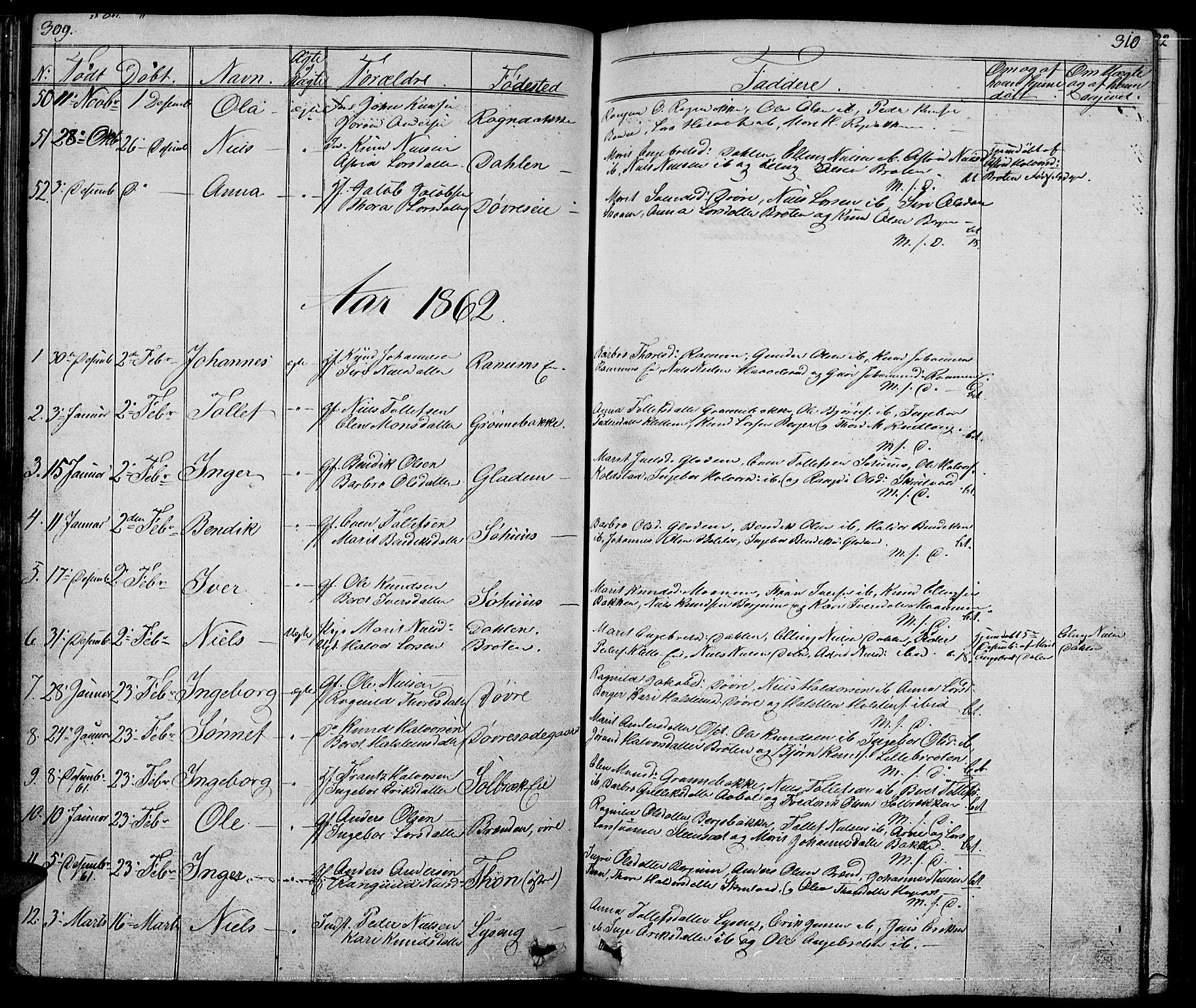 SAH, Nord-Aurdal prestekontor, Klokkerbok nr. 1, 1834-1887, s. 309-310