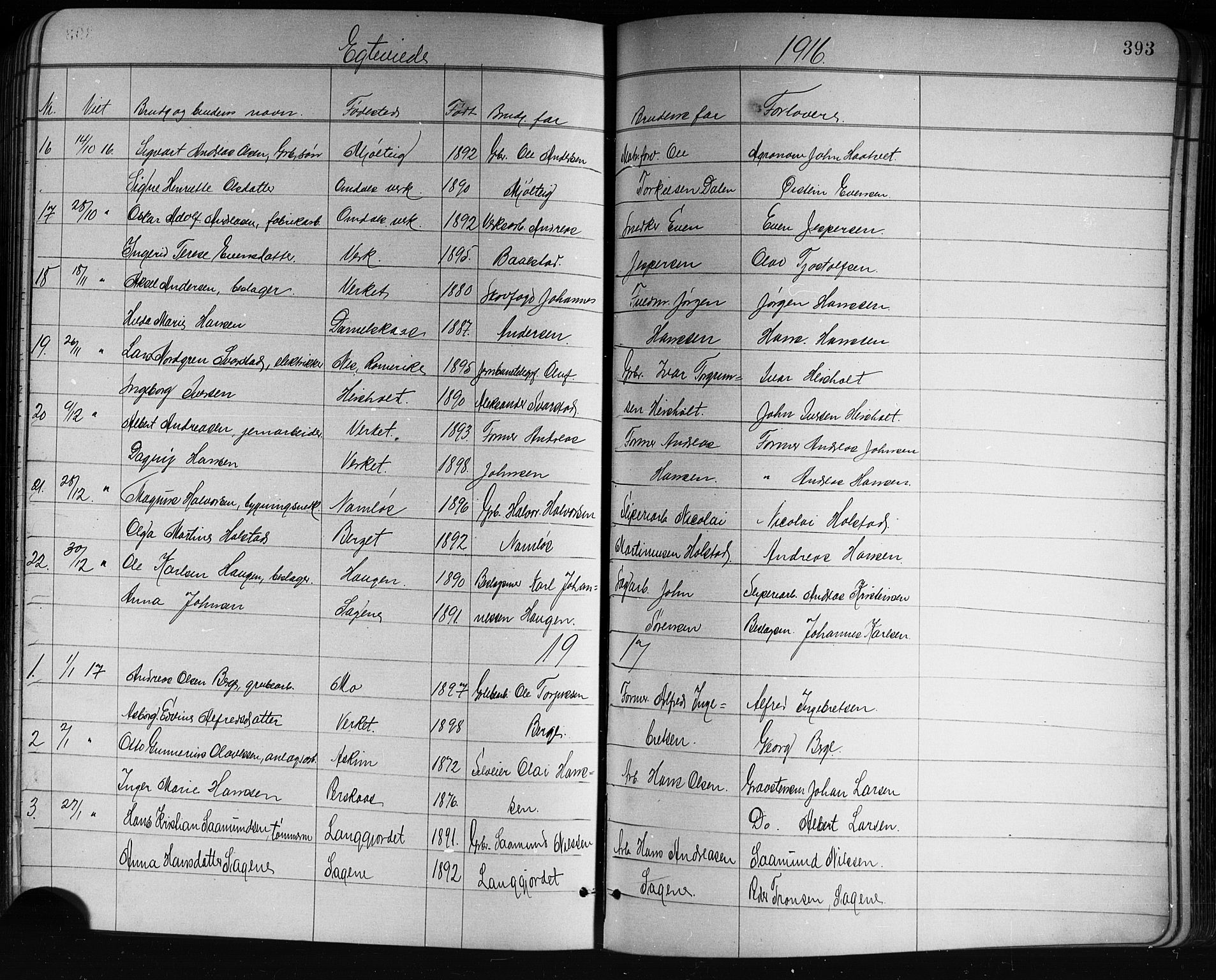 SAKO, Holla kirkebøker, G/Ga/L0005: Klokkerbok nr. I 5, 1891-1917, s. 393
