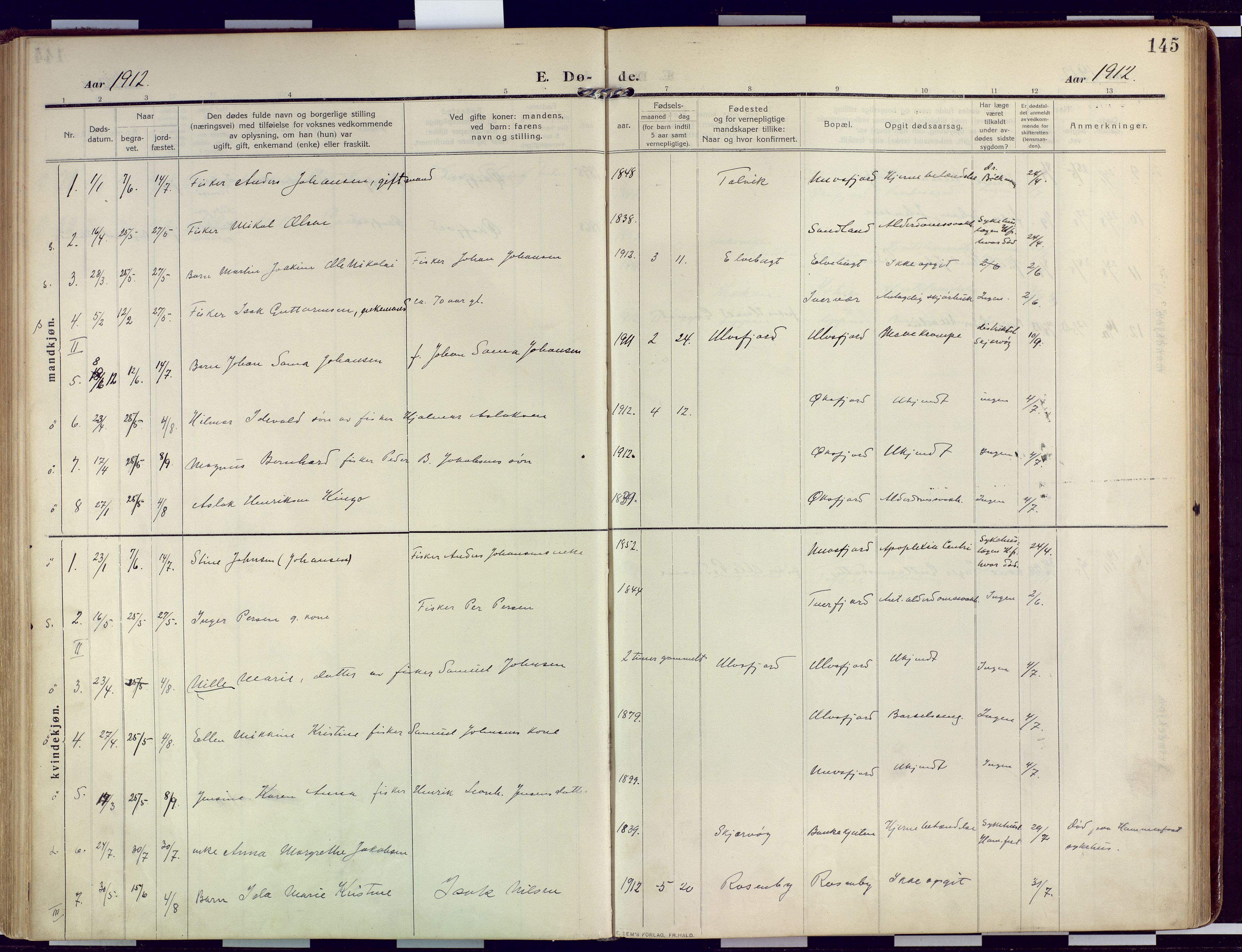 SATØ, Loppa sokneprestkontor, H/Ha/L0011kirke: Ministerialbok nr. 11, 1909-1919, s. 145