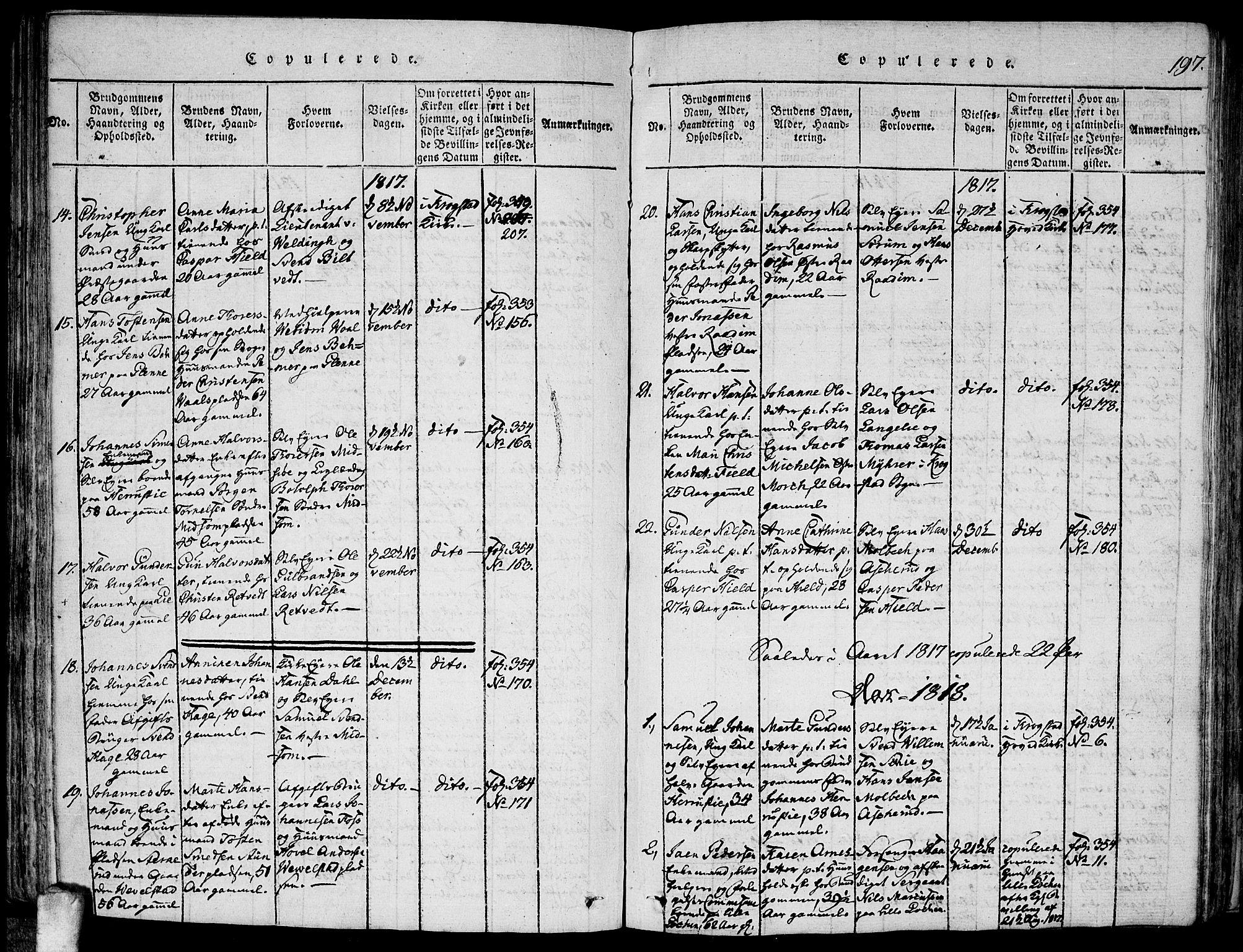 SAO, Kråkstad prestekontor Kirkebøker, F/Fa/L0003: Ministerialbok nr. I 3, 1813-1824, s. 197