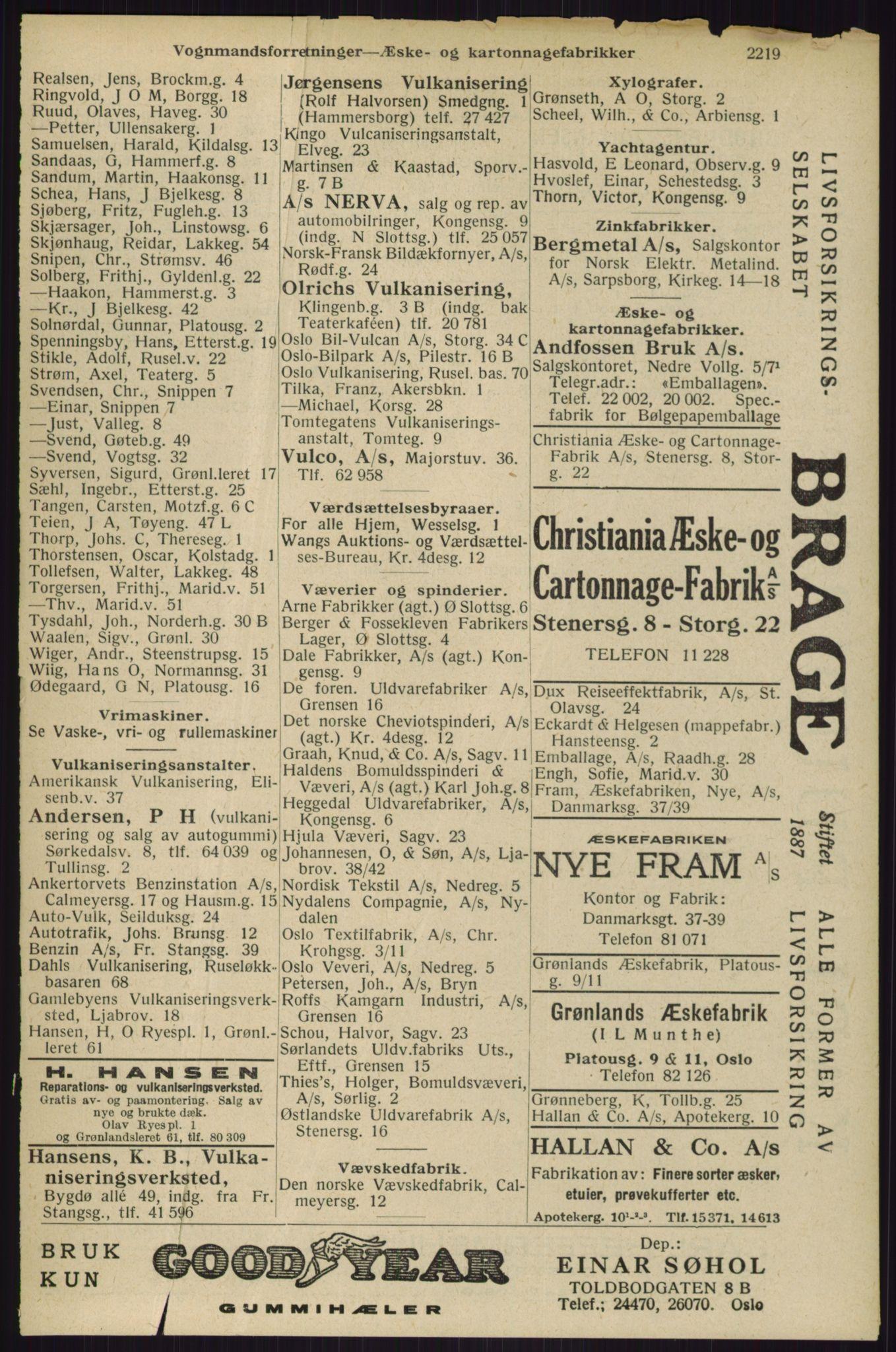 RA, Oslo adressebok (publikasjon)*, 1929, s. 2219