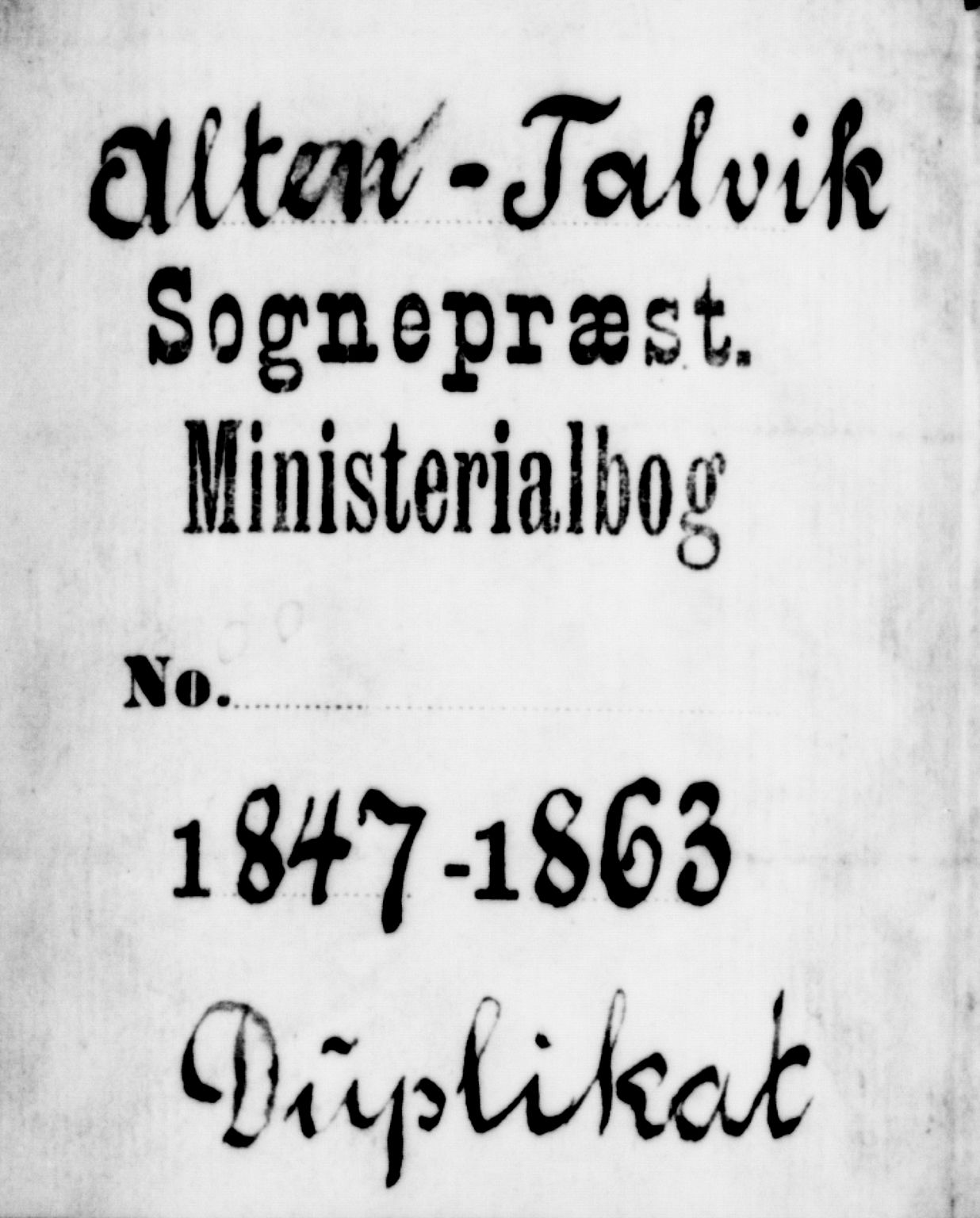 SATØ, Talvik sokneprestkontor, H/Hb/L0001klokker: Klokkerbok nr. 1, 1847-1863
