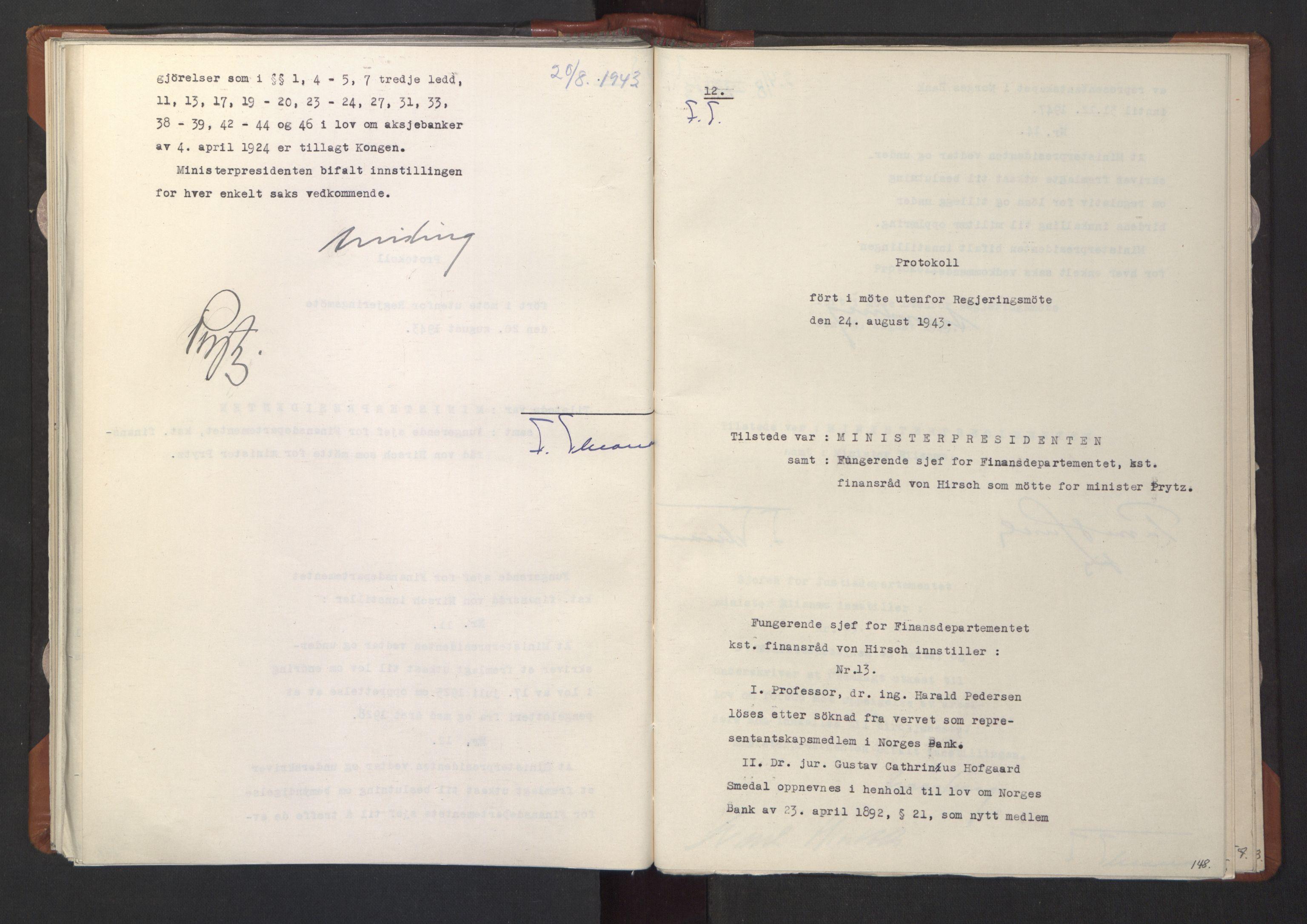 RA, NS-administrasjonen 1940-1945 (Statsrådsekretariatet, de kommisariske statsråder mm), D/Da/L0003: Vedtak (Beslutninger) nr. 1-746 og tillegg nr. 1-47 (RA. j.nr. 1394/1944, tilgangsnr. 8/1944, 1943, s. 147b-148a
