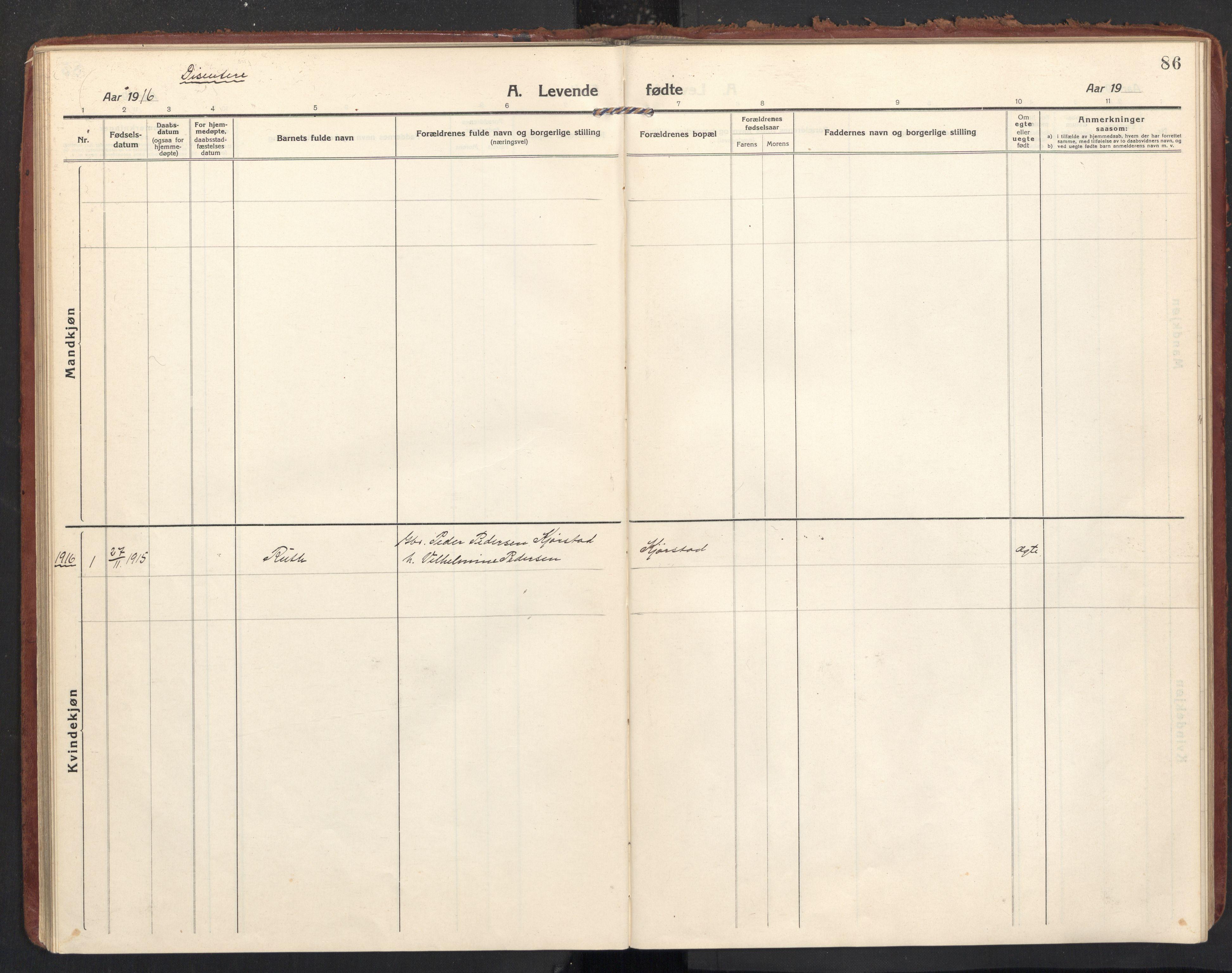 SAT, Ministerialprotokoller, klokkerbøker og fødselsregistre - Nordland, 890/L1288: Ministerialbok nr. 890A03, 1915-1925, s. 86