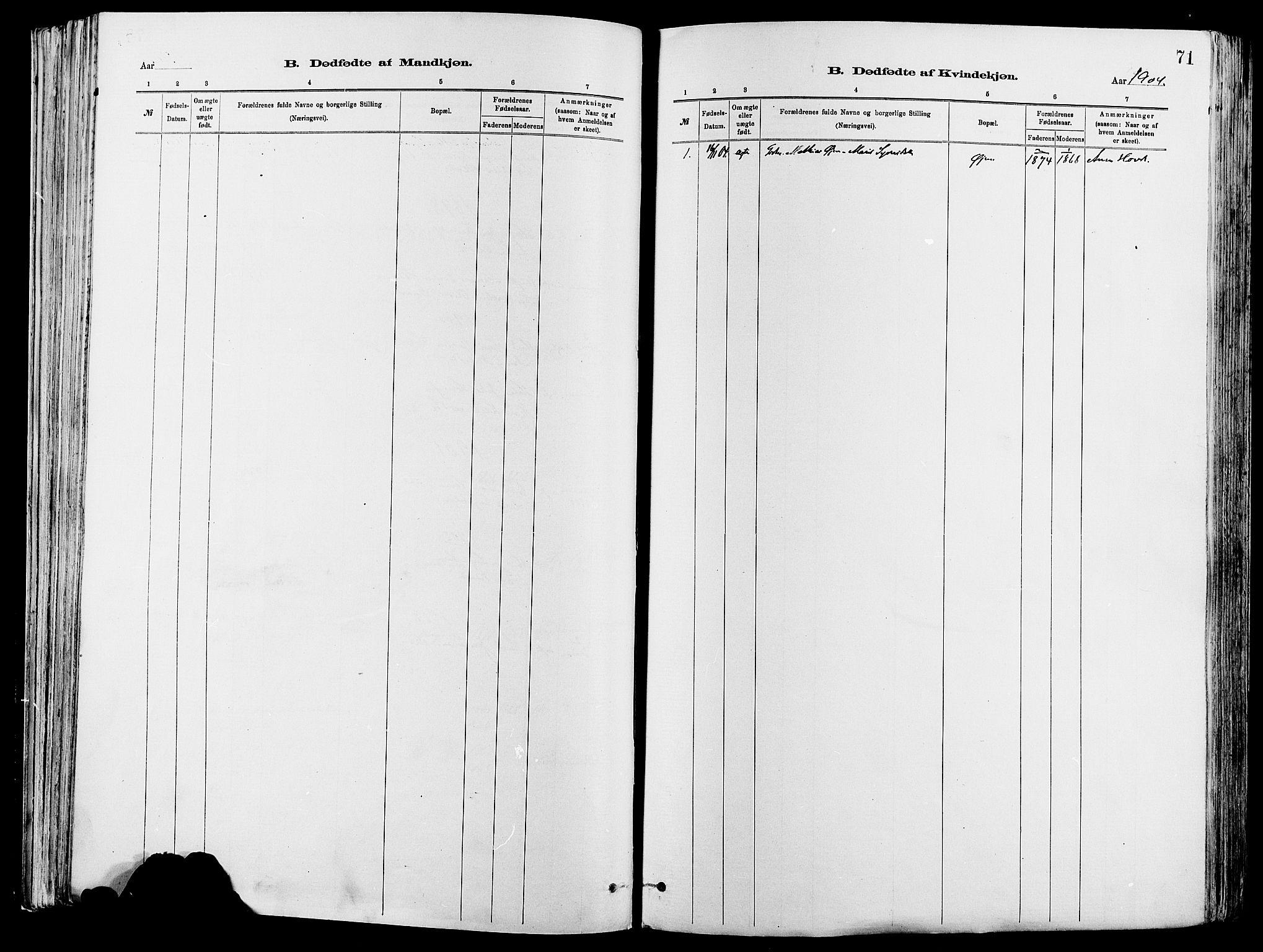 SAH, Vågå prestekontor, Ministerialbok nr. 8, 1886-1904, s. 71