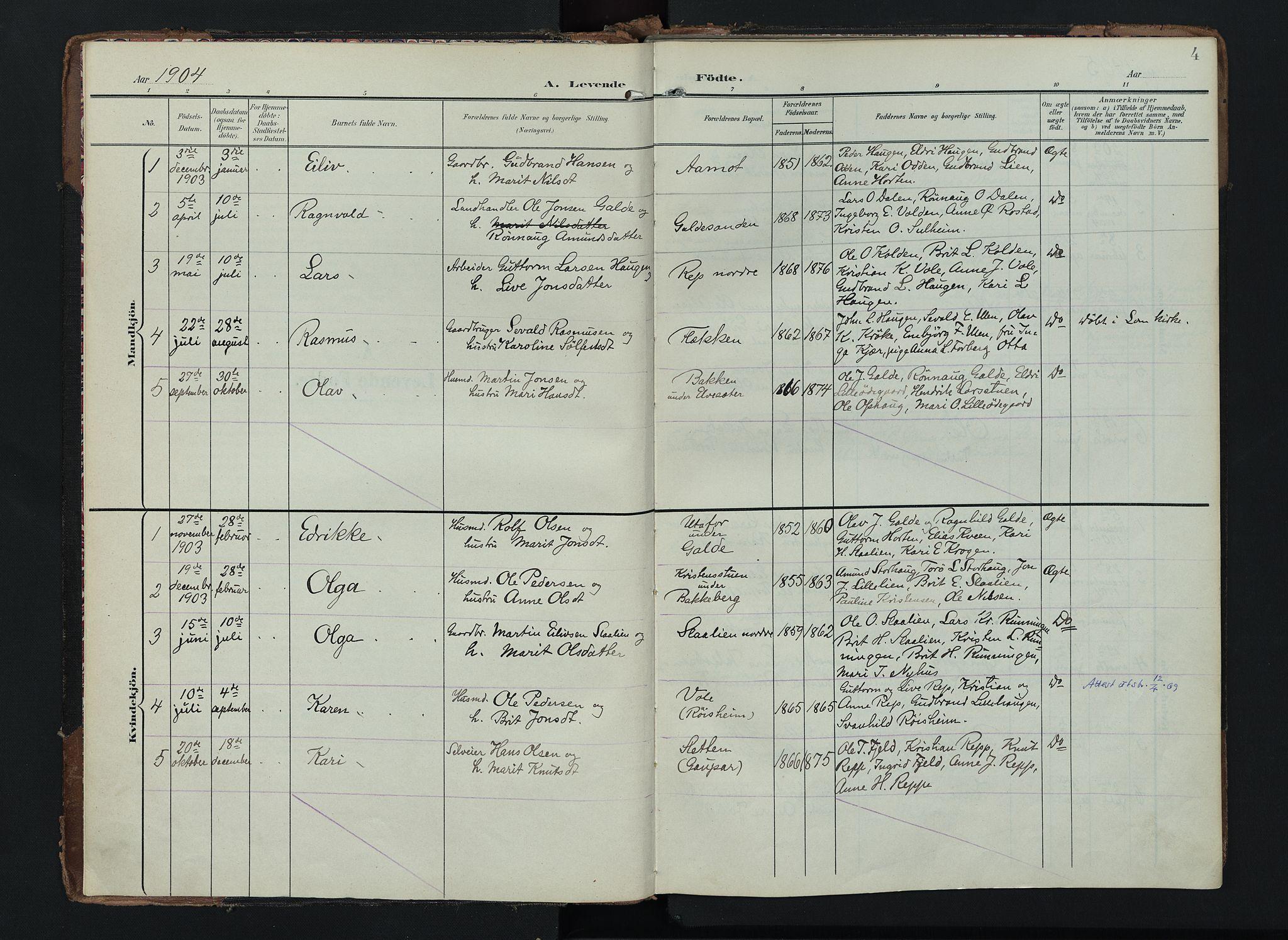 SAH, Lom prestekontor, K/L0012: Ministerialbok nr. 12, 1904-1928, s. 4