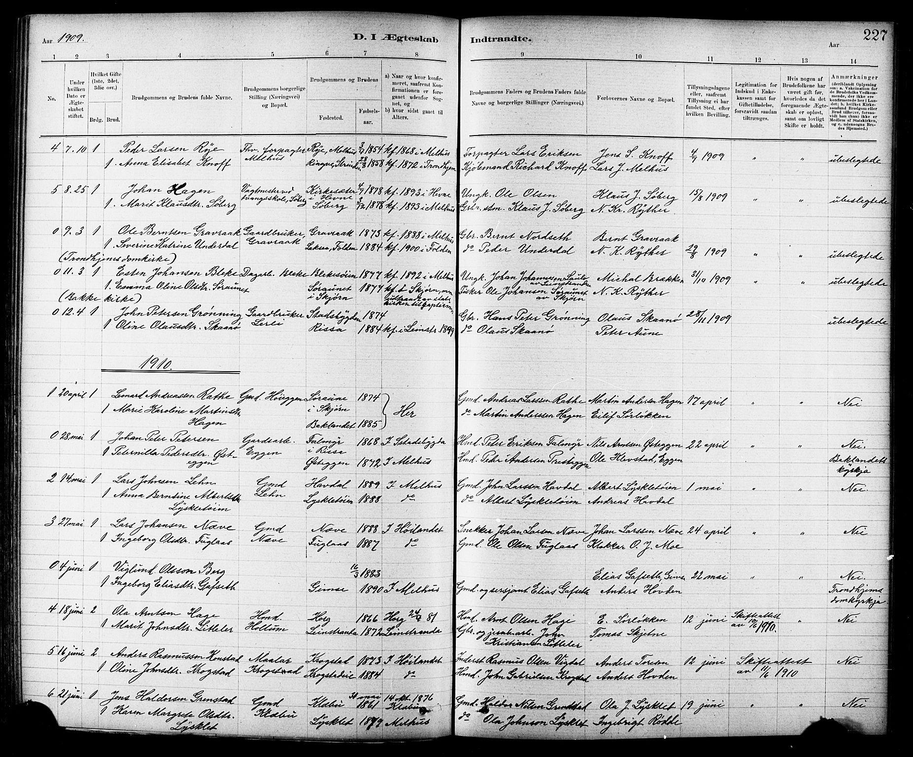 SAT, Ministerialprotokoller, klokkerbøker og fødselsregistre - Sør-Trøndelag, 691/L1094: Klokkerbok nr. 691C05, 1879-1911, s. 227