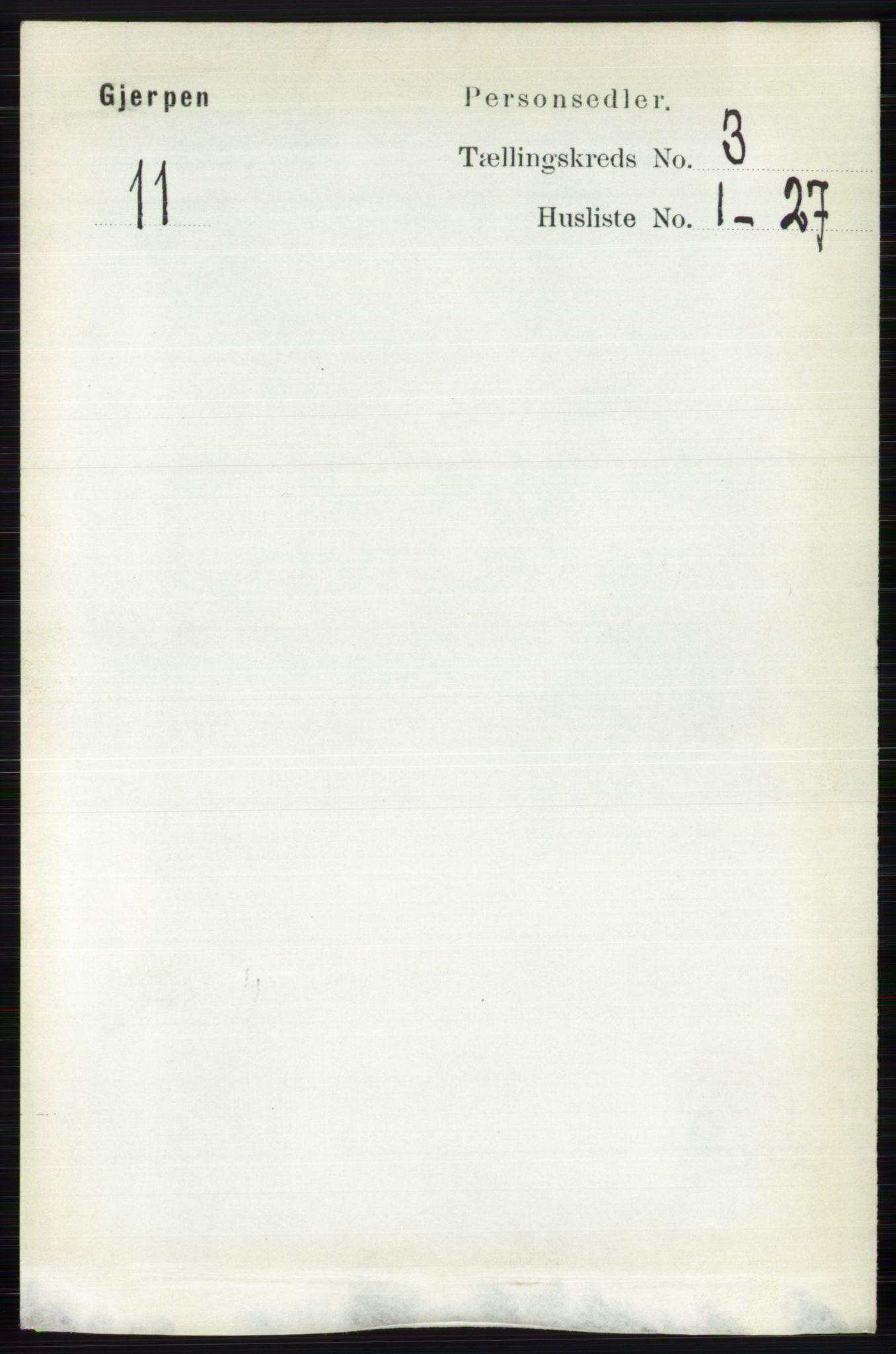 RA, Folketelling 1891 for 0812 Gjerpen herred, 1891, s. 1457