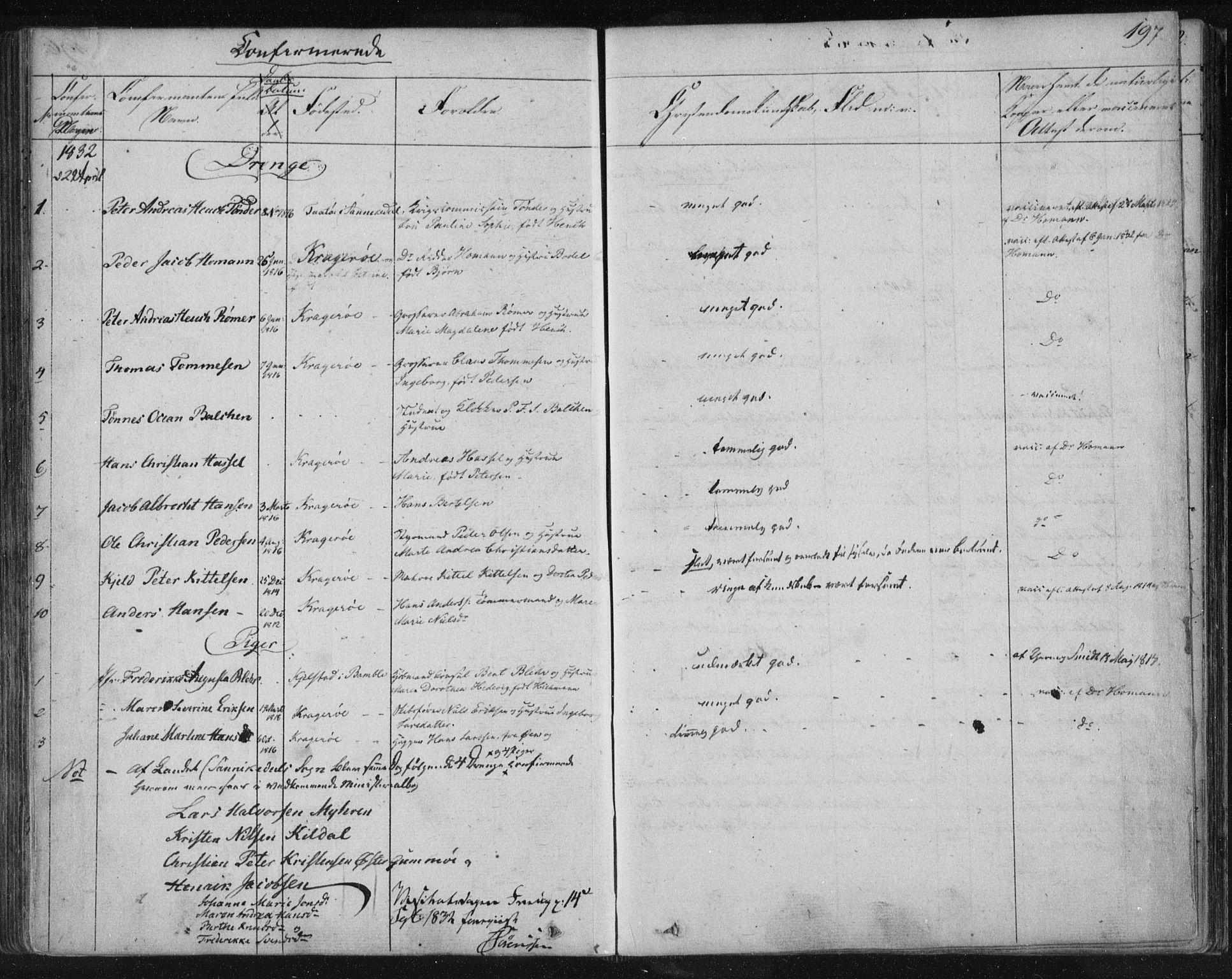 SAKO, Kragerø kirkebøker, F/Fa/L0005: Ministerialbok nr. 5, 1832-1847, s. 197