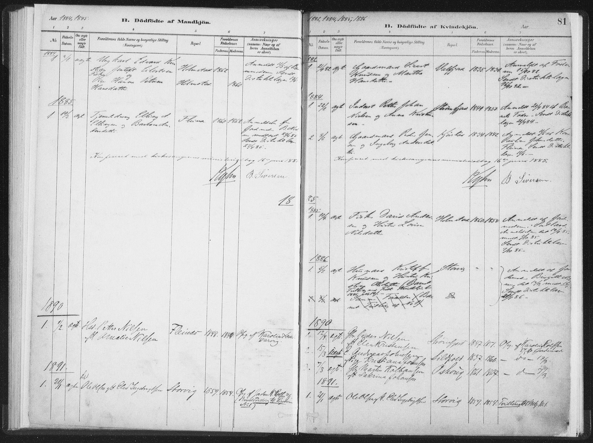 SAT, Ministerialprotokoller, klokkerbøker og fødselsregistre - Nordland, 890/L1286: Ministerialbok nr. 890A01, 1882-1902, s. 81