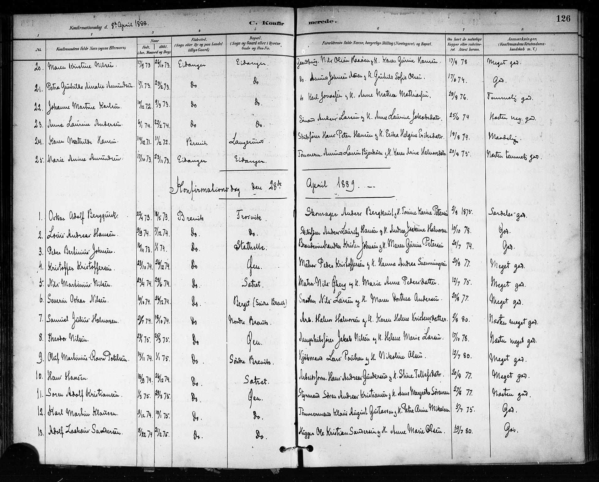 SAKO, Brevik kirkebøker, F/Fa/L0007: Ministerialbok nr. 7, 1882-1900, s. 126