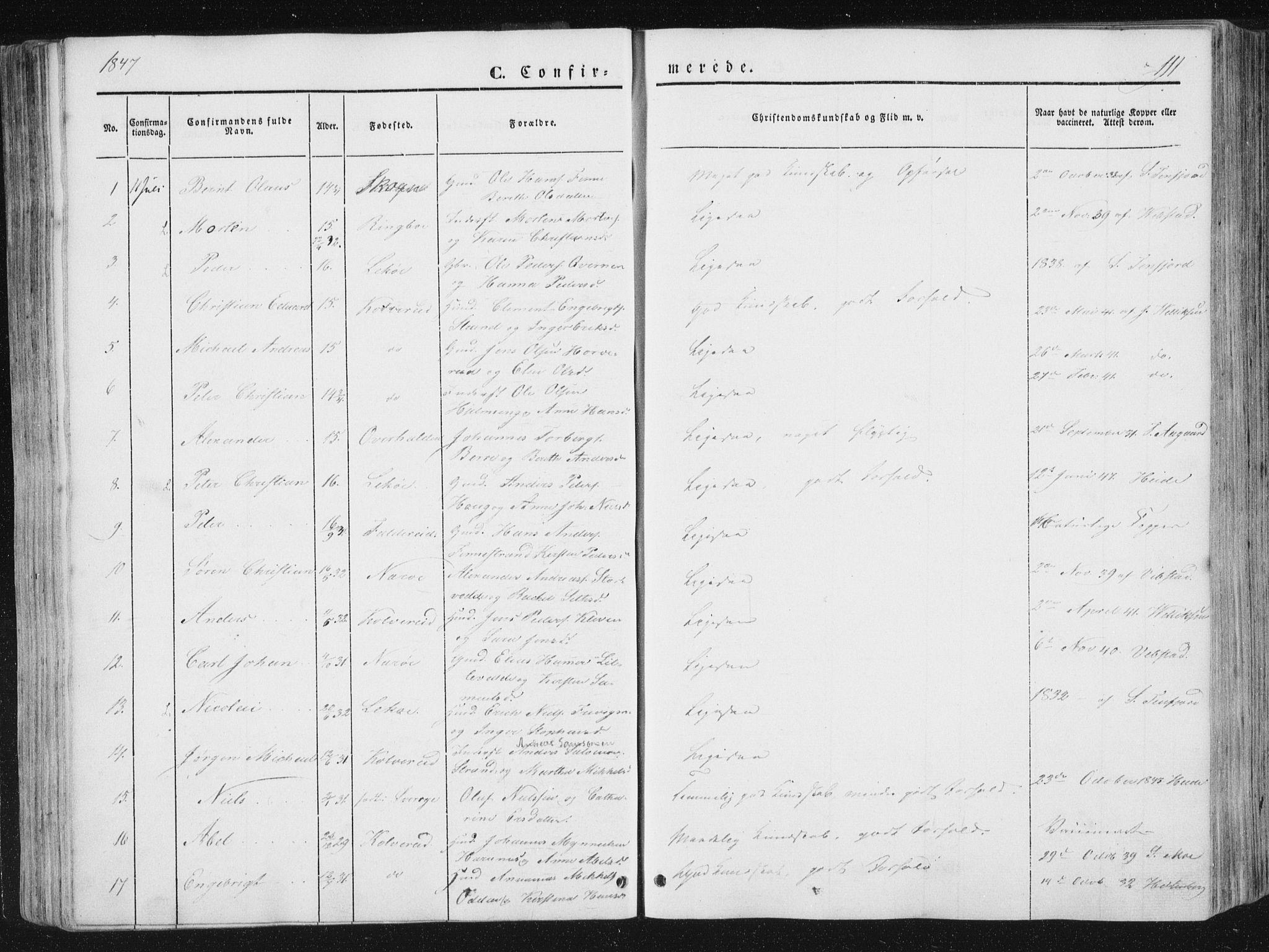 SAT, Ministerialprotokoller, klokkerbøker og fødselsregistre - Nord-Trøndelag, 780/L0640: Ministerialbok nr. 780A05, 1845-1856, s. 111