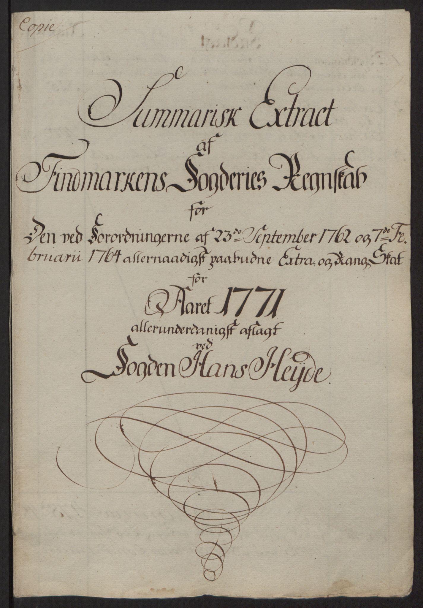 RA, Rentekammeret inntil 1814, Reviderte regnskaper, Fogderegnskap, R69/L4910: Ekstraskatten  Finnmark/Vardøhus, 1762-1772, s. 411