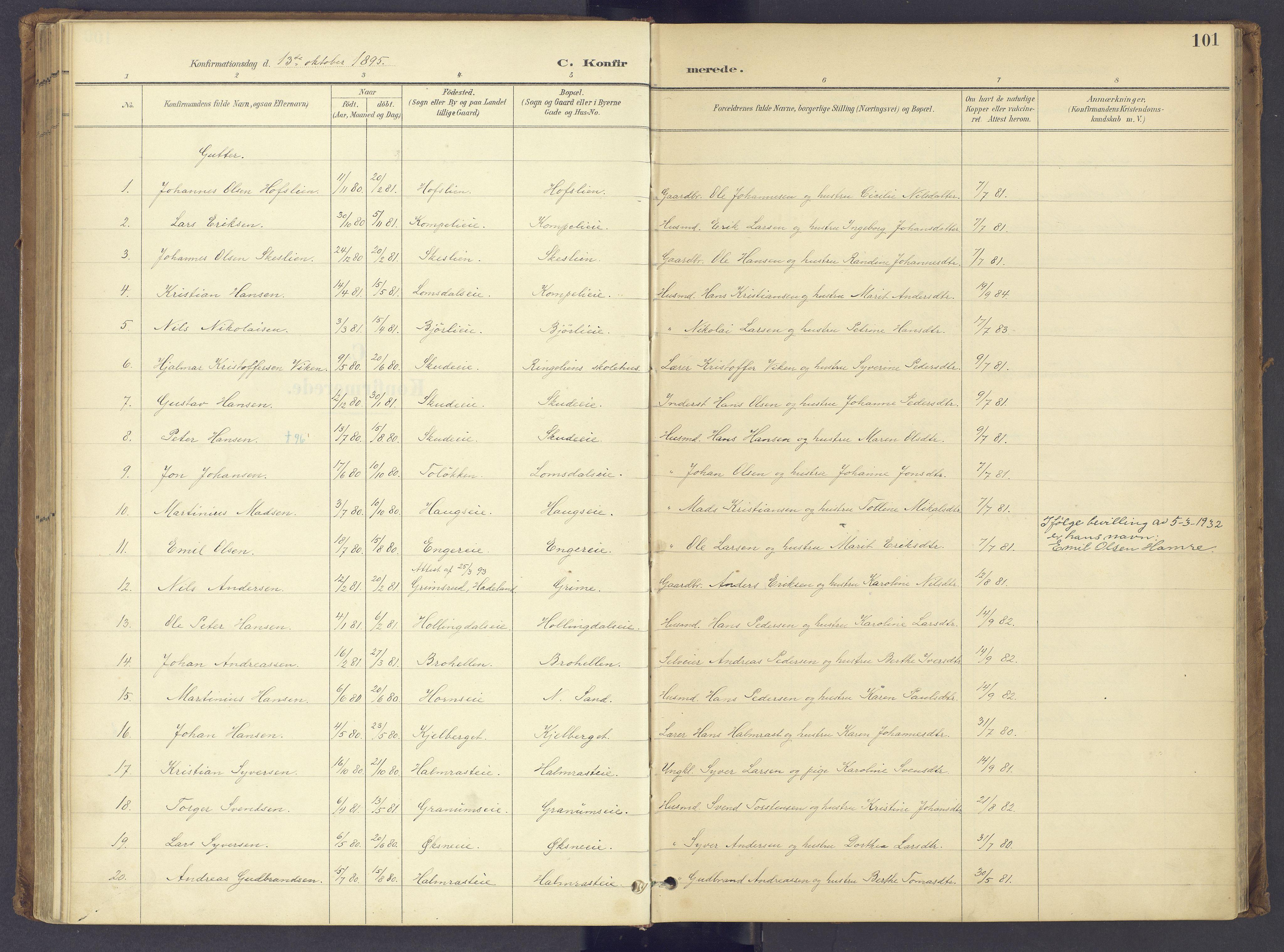 SAH, Søndre Land prestekontor, K/L0006: Ministerialbok nr. 6, 1895-1904, s. 101