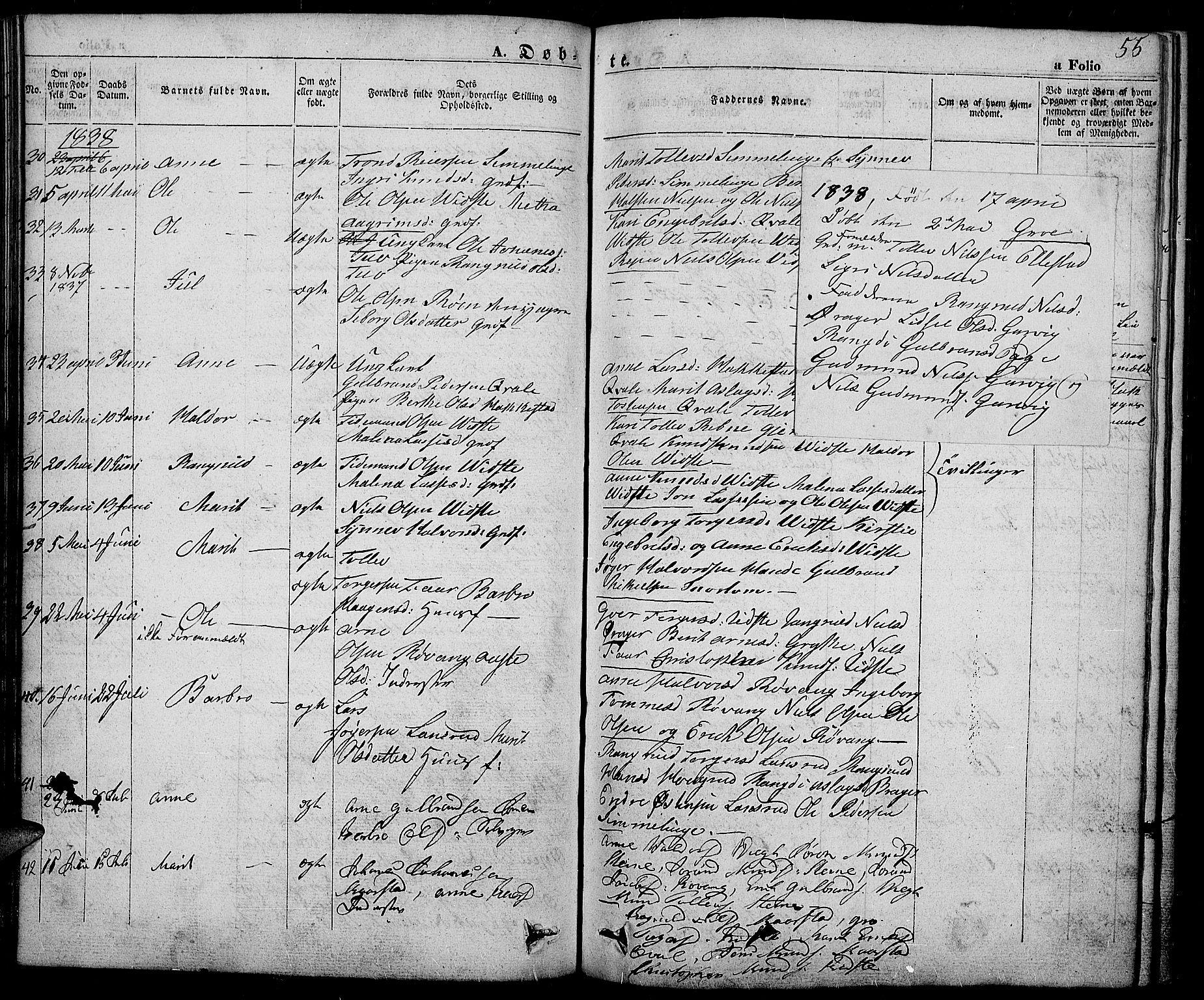 SAH, Slidre prestekontor, Ministerialbok nr. 3, 1831-1843, s. 55