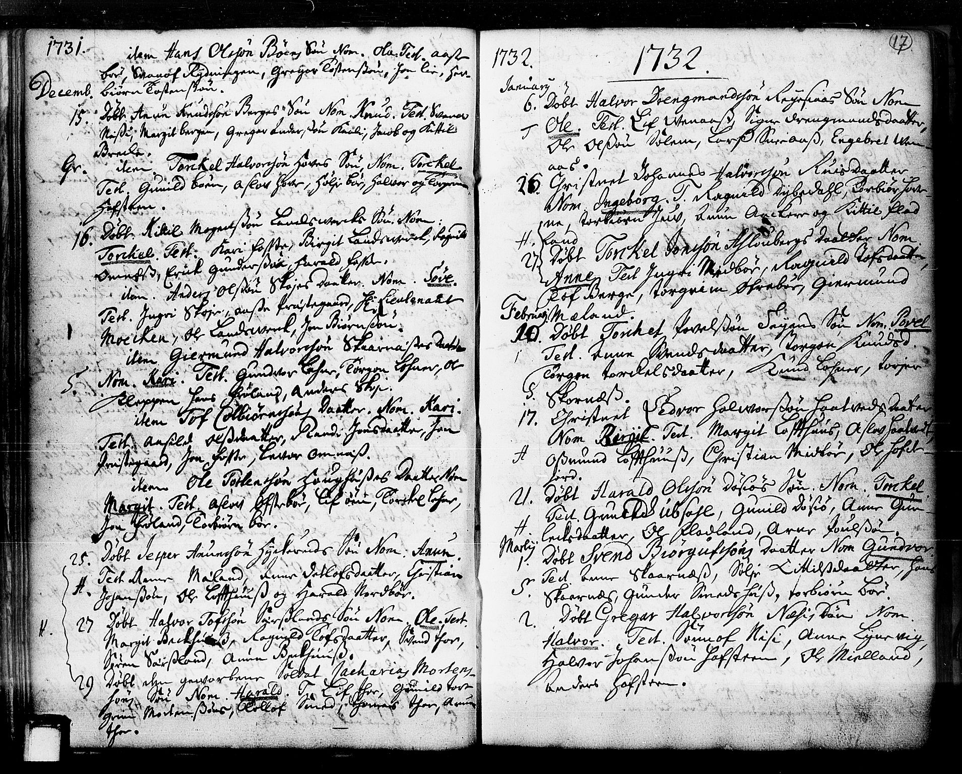 SAKO, Hjartdal kirkebøker, F/Fa/L0003: Ministerialbok nr. I 3, 1727-1775, s. 17