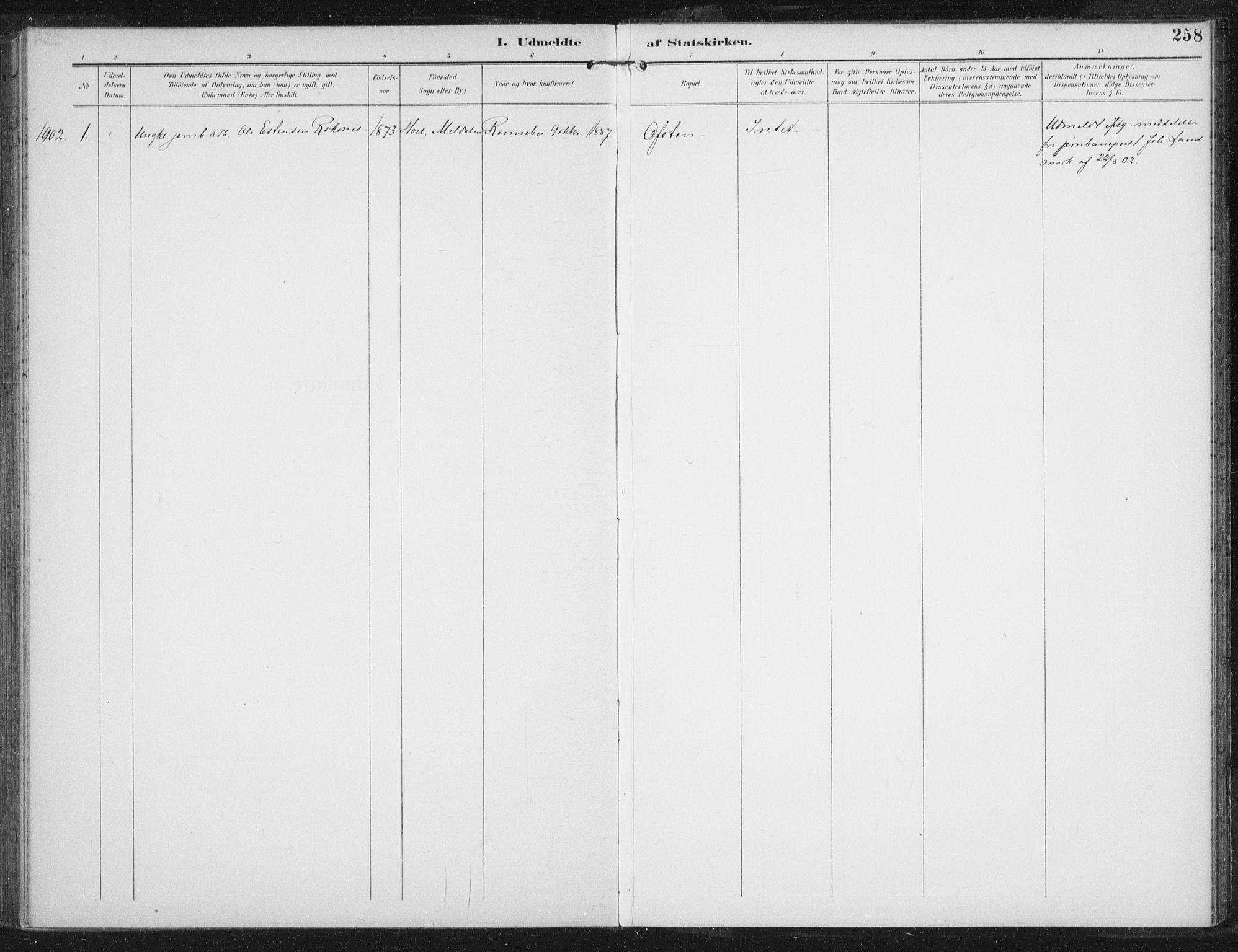 SAT, Ministerialprotokoller, klokkerbøker og fødselsregistre - Sør-Trøndelag, 674/L0872: Ministerialbok nr. 674A04, 1897-1907, s. 258