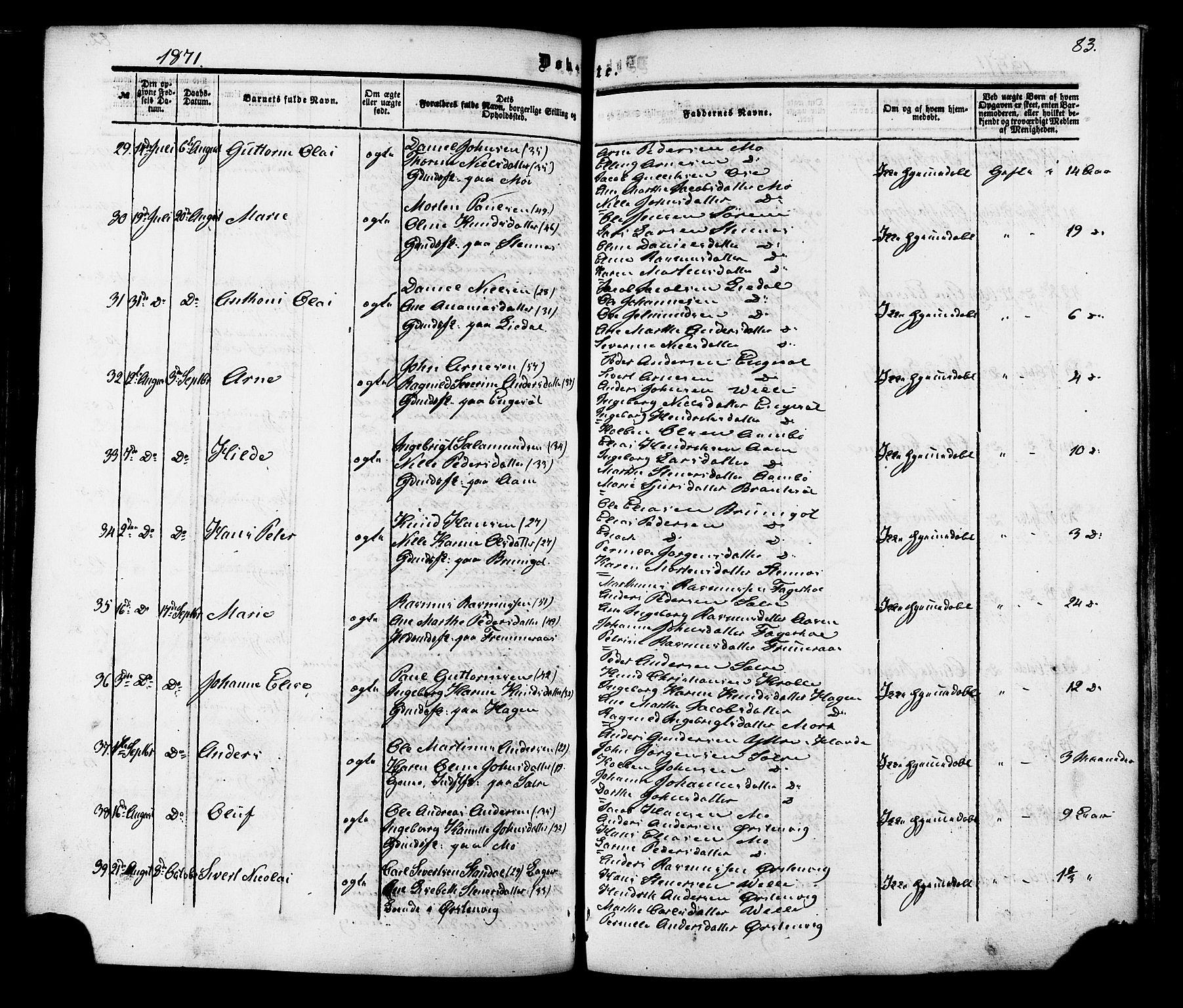 SAT, Ministerialprotokoller, klokkerbøker og fødselsregistre - Møre og Romsdal, 513/L0175: Ministerialbok nr. 513A02, 1856-1877, s. 83
