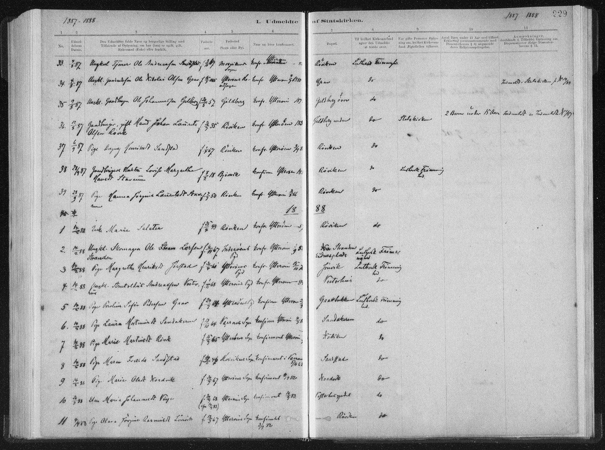 SAT, Ministerialprotokoller, klokkerbøker og fødselsregistre - Nord-Trøndelag, 722/L0220: Ministerialbok nr. 722A07, 1881-1908, s. 229