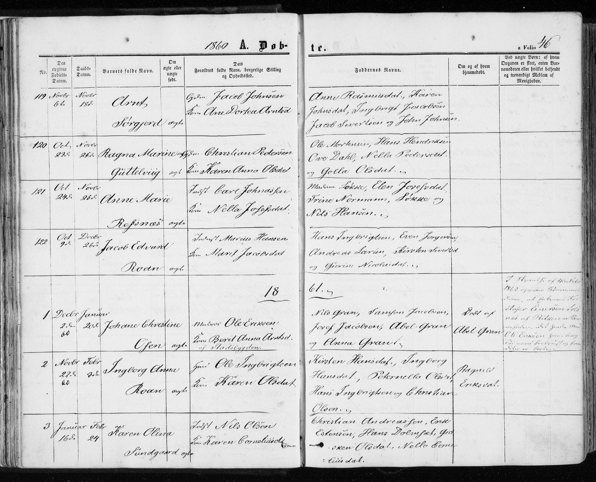 SAT, Ministerialprotokoller, klokkerbøker og fødselsregistre - Sør-Trøndelag, 657/L0705: Ministerialbok nr. 657A06, 1858-1867, s. 46