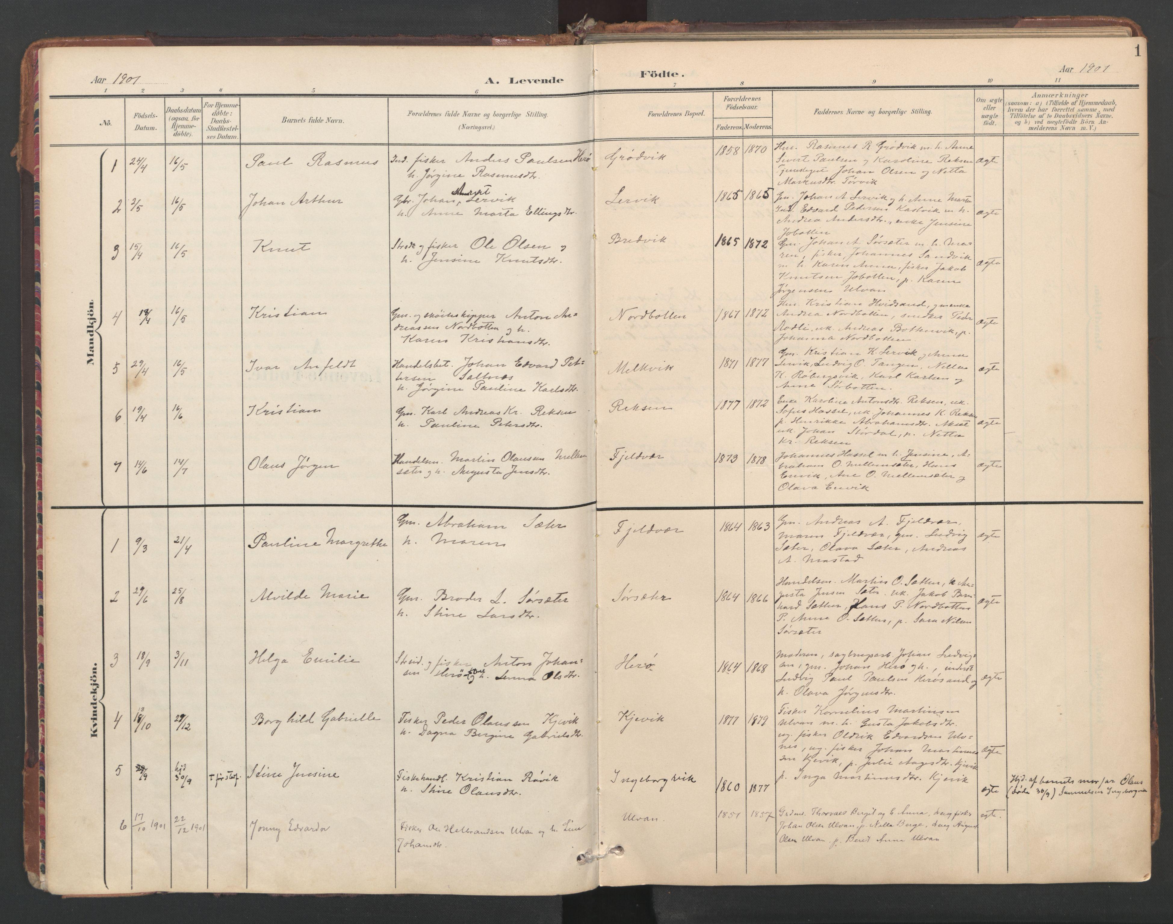 SAT, Ministerialprotokoller, klokkerbøker og fødselsregistre - Sør-Trøndelag, 638/L0568: Ministerialbok nr. 638A01, 1901-1916, s. 1
