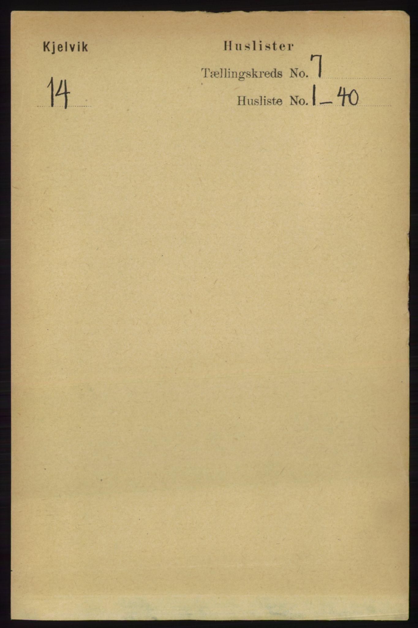 RA, Folketelling 1891 for 2019 Kjelvik herred, 1891, s. 845