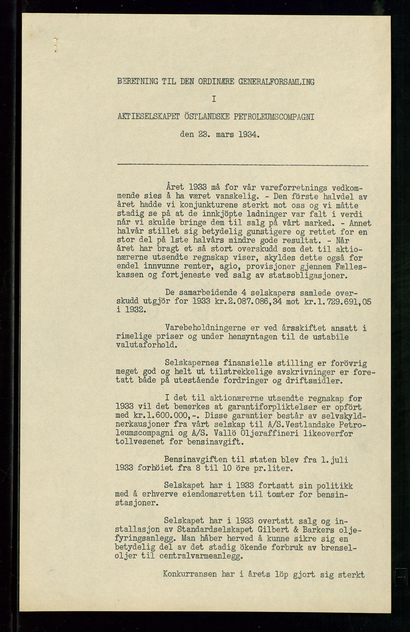 SAST, PA 1534 - Østlandske Petroleumscompagni A/S, A/Aa/L0002: Generalforsamlinger., 1934, s. 2