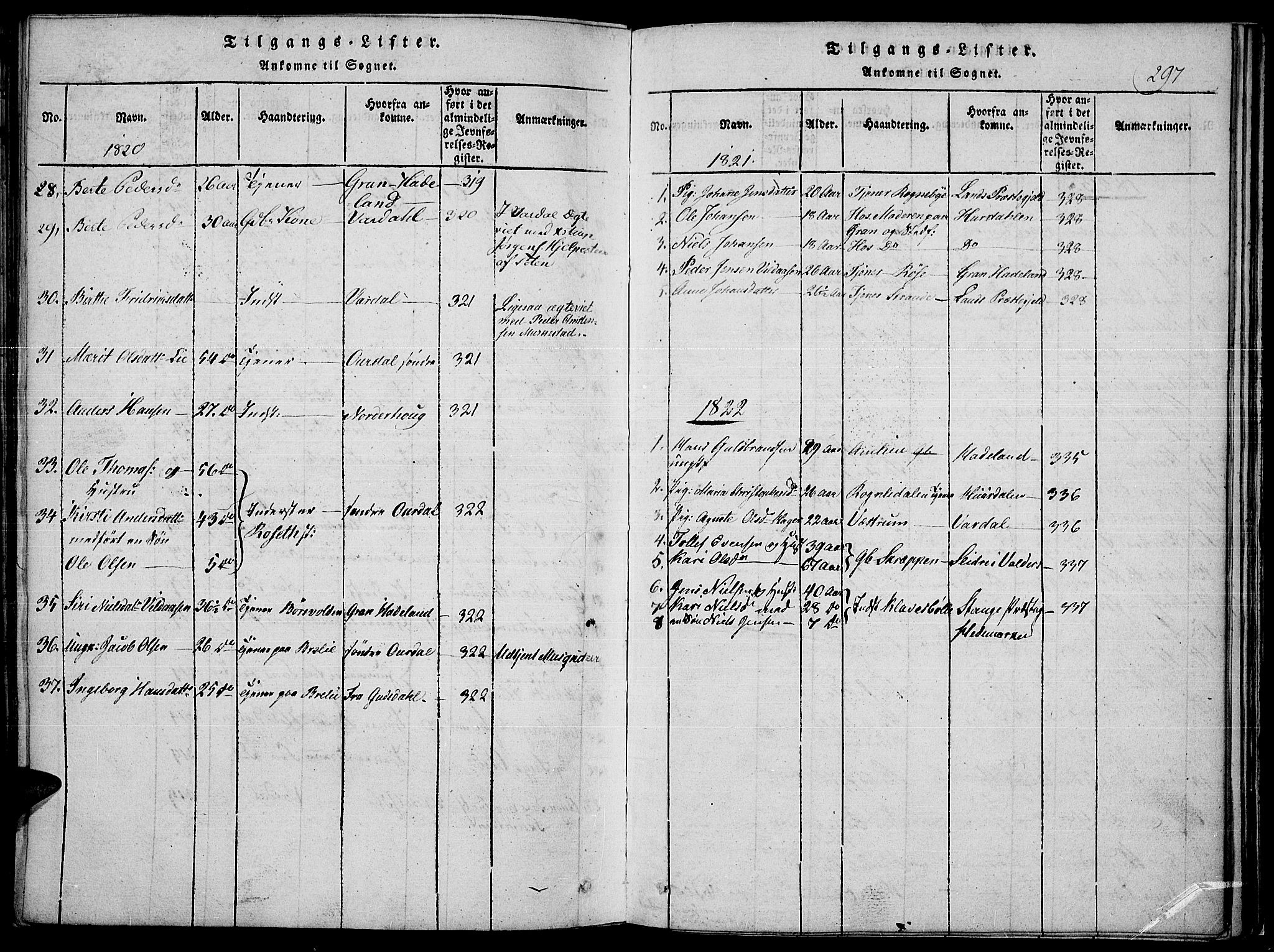 SAH, Toten prestekontor, Ministerialbok nr. 10, 1820-1828, s. 297