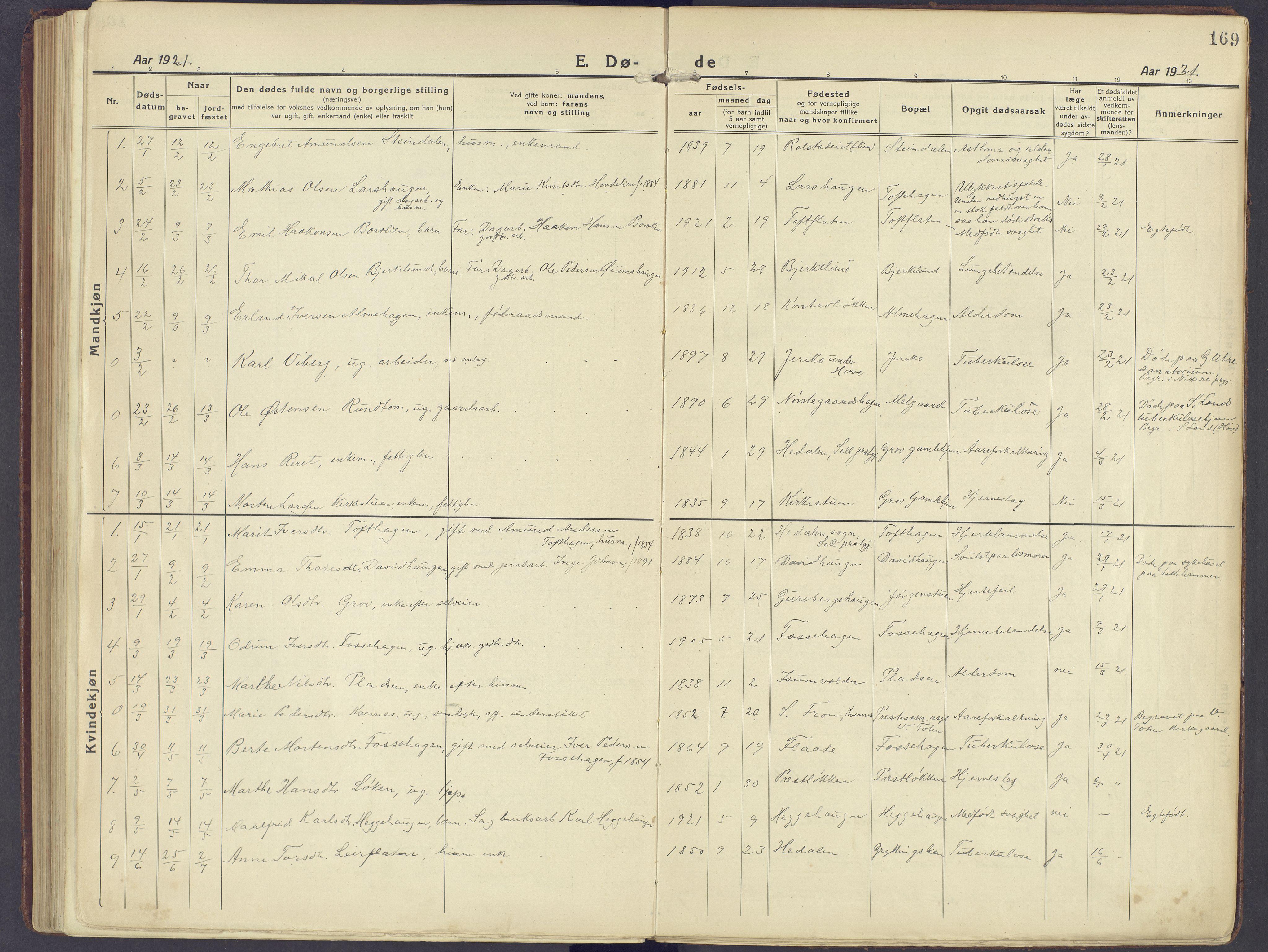 SAH, Sør-Fron prestekontor, H/Ha/Haa/L0005: Ministerialbok nr. 5, 1920-1933, s. 169