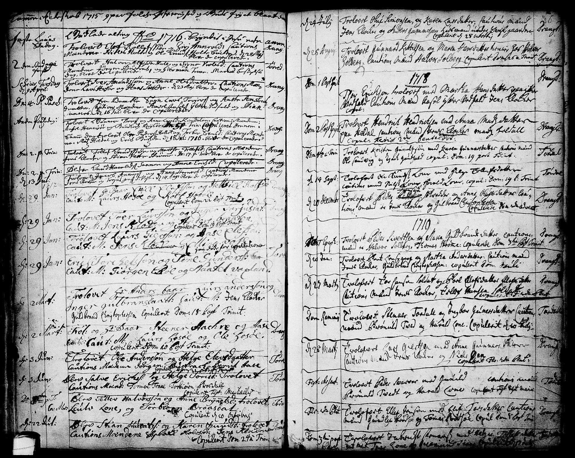 SAKO, Drangedal kirkebøker, F/Fa/L0001: Ministerialbok nr. 1, 1697-1767, s. 36