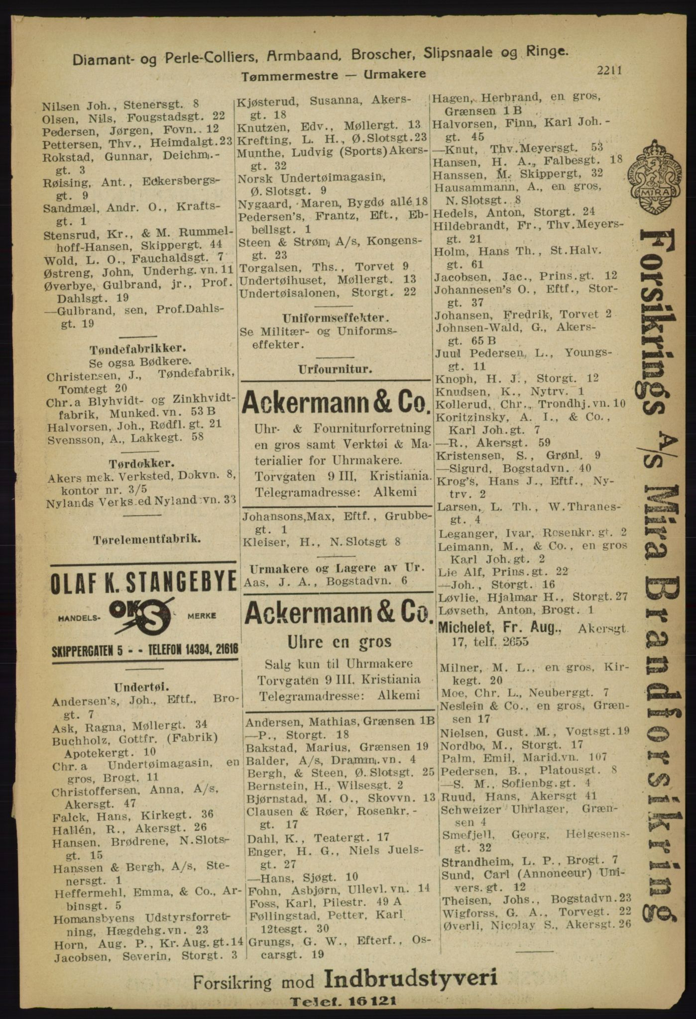 RA, Kristiania adressebok (publikasjon)*, 1918, s. 2211